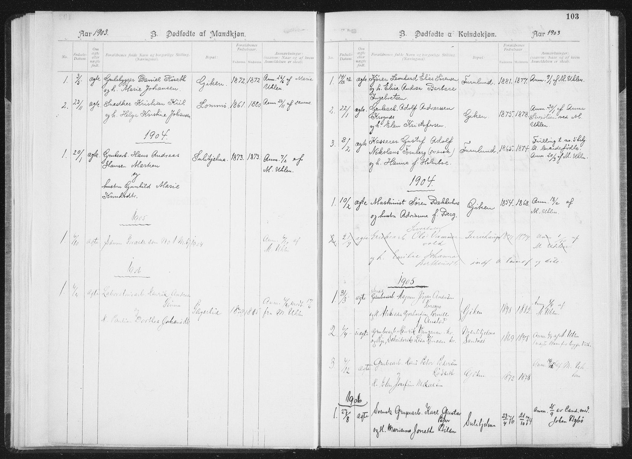 SAT, Ministerialprotokoller, klokkerbøker og fødselsregistre - Nordland, 850/L0711: Residerende kapellans bok nr. 850B01, 1902-1915, s. 103