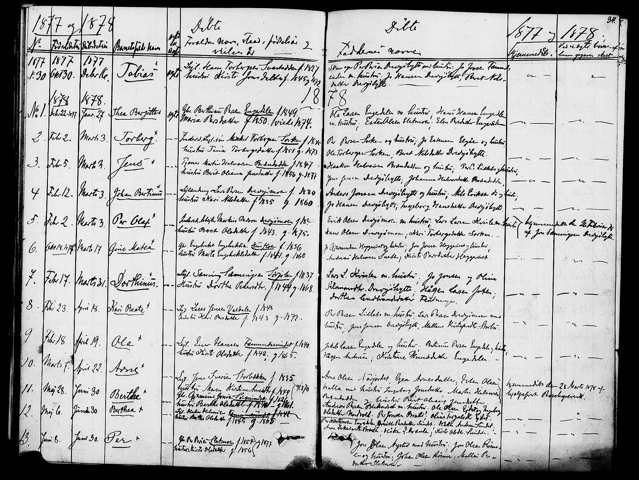 SAH, Rendalen prestekontor, H/Ha/Hab/L0002: Klokkerbok nr. 2, 1858-1880, s. 34