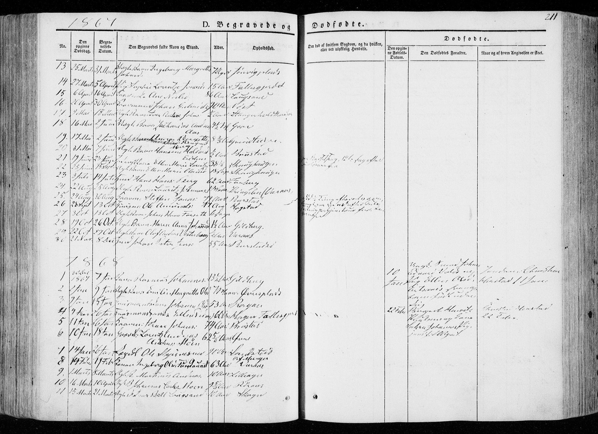 SAT, Ministerialprotokoller, klokkerbøker og fødselsregistre - Nord-Trøndelag, 722/L0218: Ministerialbok nr. 722A05, 1843-1868, s. 211