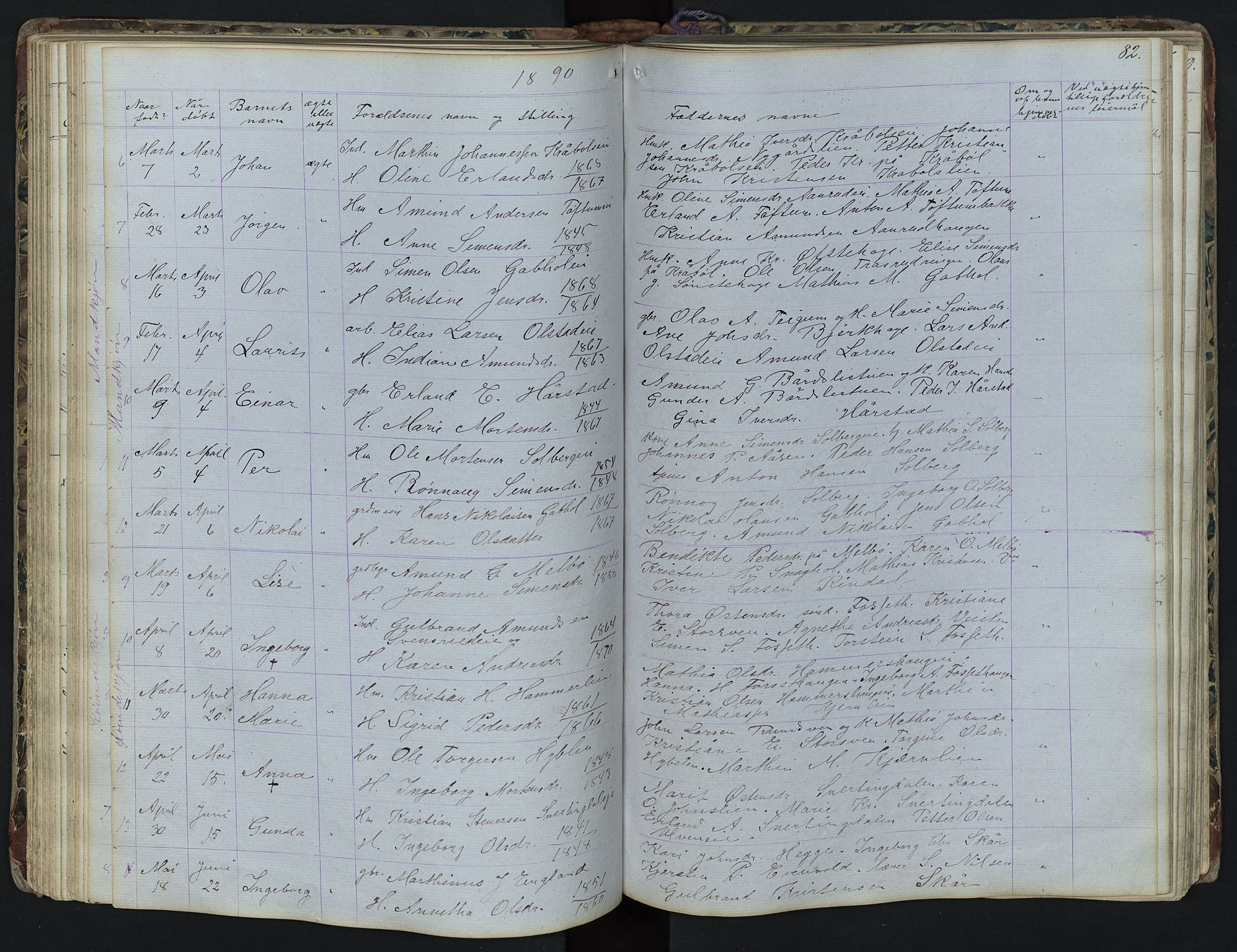 SAH, Vestre Gausdal prestekontor, Klokkerbok nr. 1, 1867-1895, s. 82