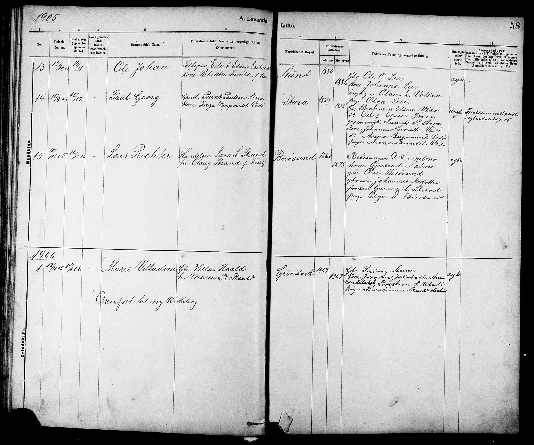 SAT, Ministerialprotokoller, klokkerbøker og fødselsregistre - Sør-Trøndelag, 639/L0573: Klokkerbok nr. 639C01, 1890-1905, s. 58