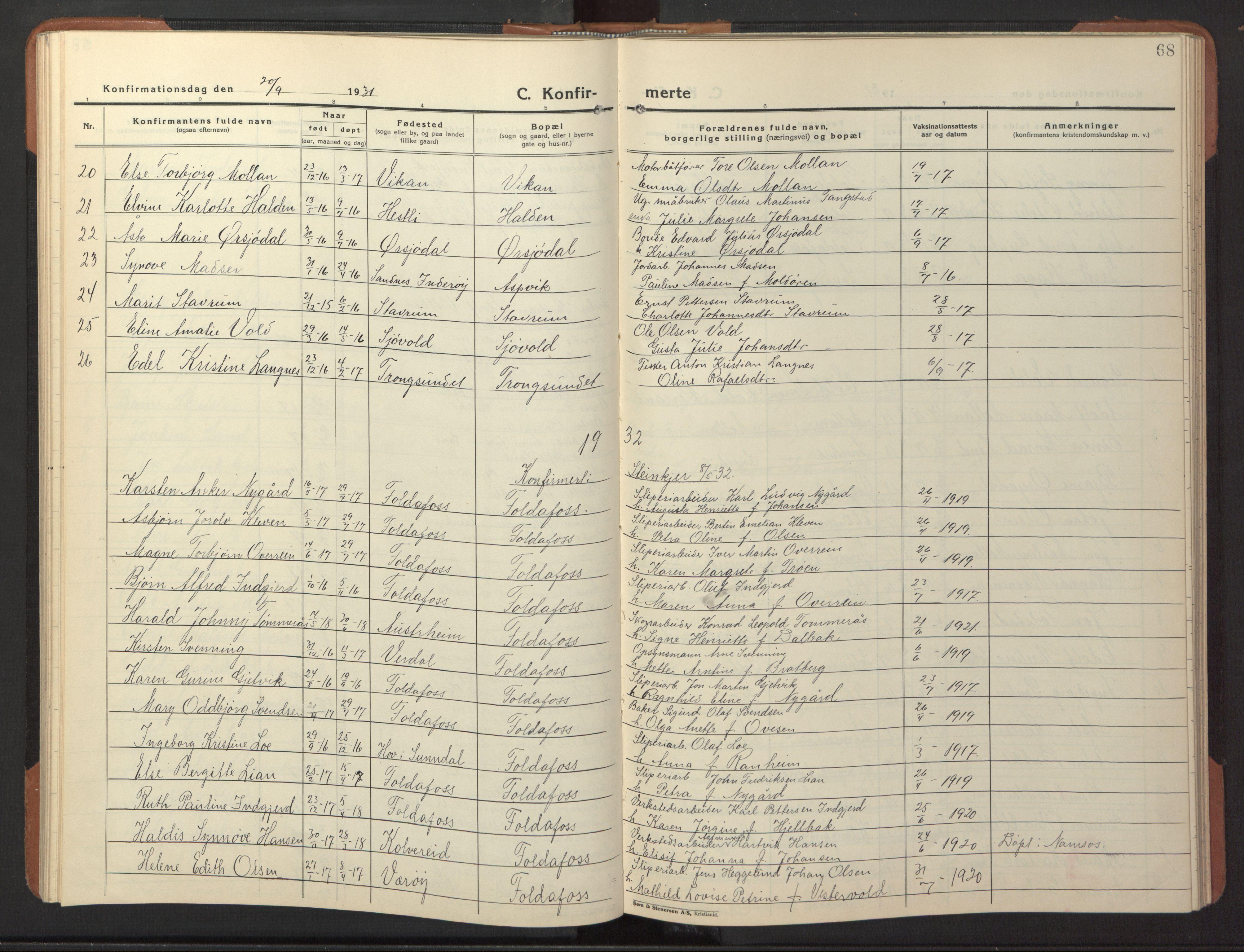 SAT, Ministerialprotokoller, klokkerbøker og fødselsregistre - Nord-Trøndelag, 744/L0425: Klokkerbok nr. 744C04, 1924-1947, s. 68