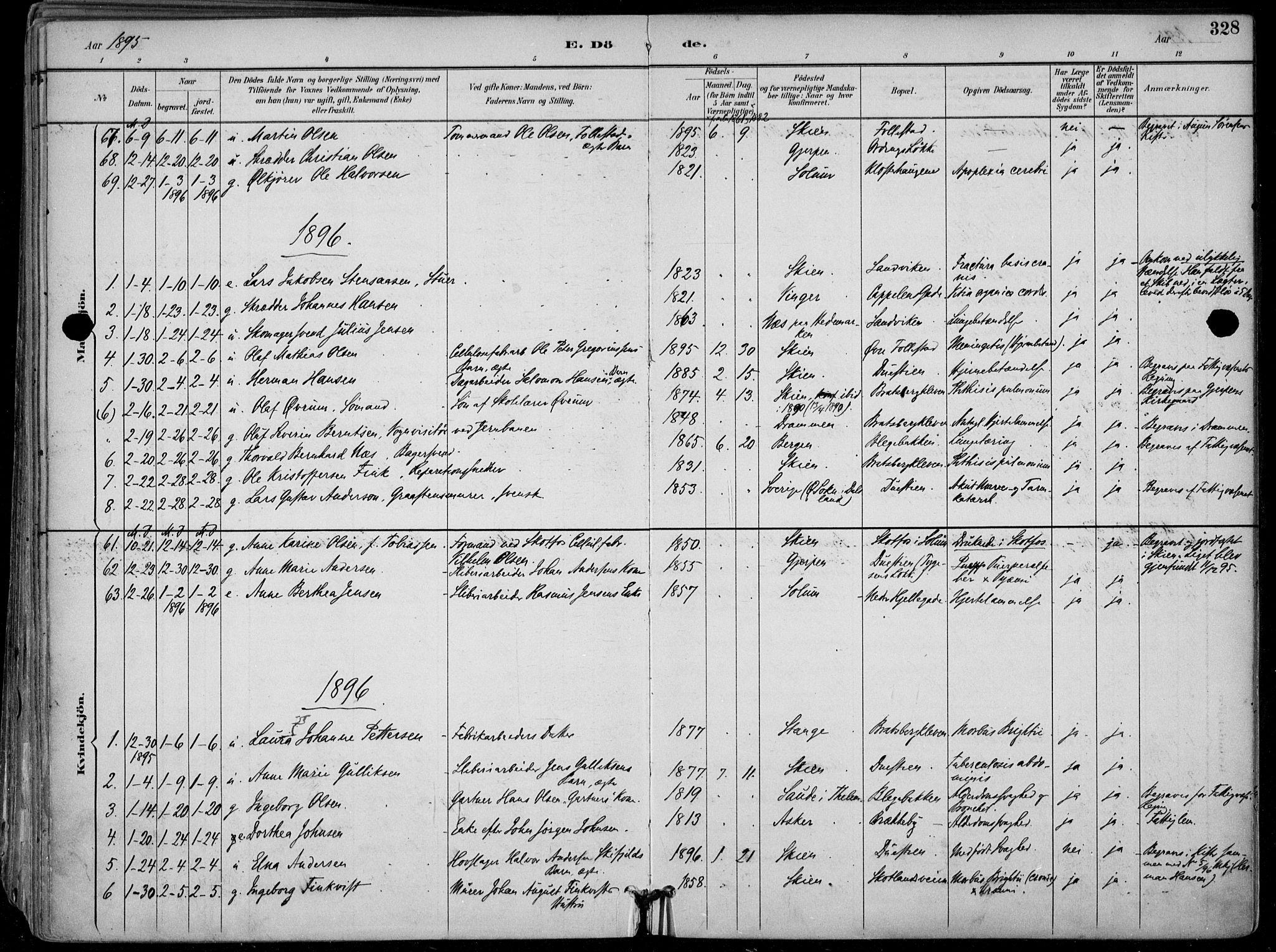 SAKO, Skien kirkebøker, F/Fa/L0010: Ministerialbok nr. 10, 1891-1899, s. 328