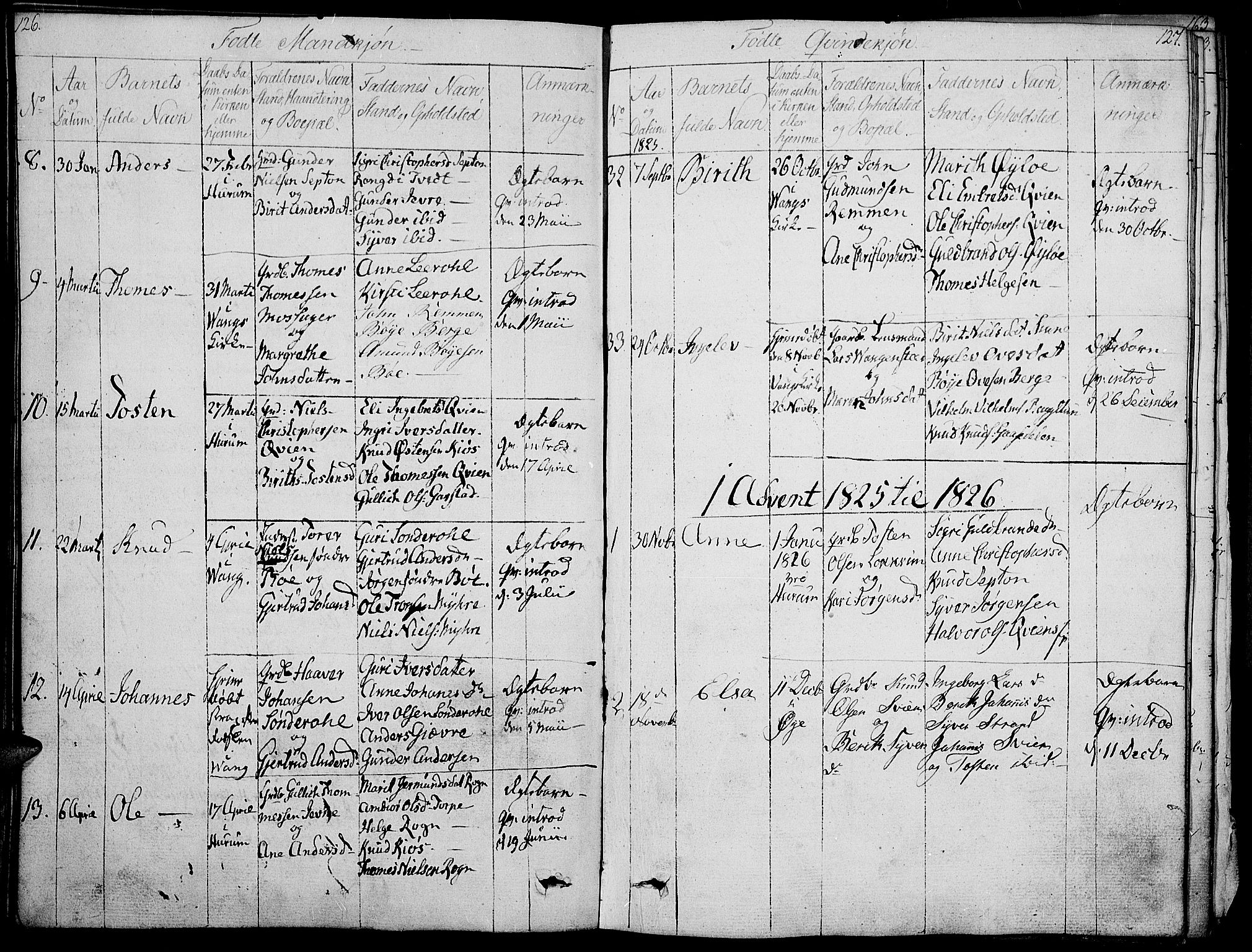 SAH, Vang prestekontor, Valdres, Ministerialbok nr. 3, 1809-1831, s. 126-127