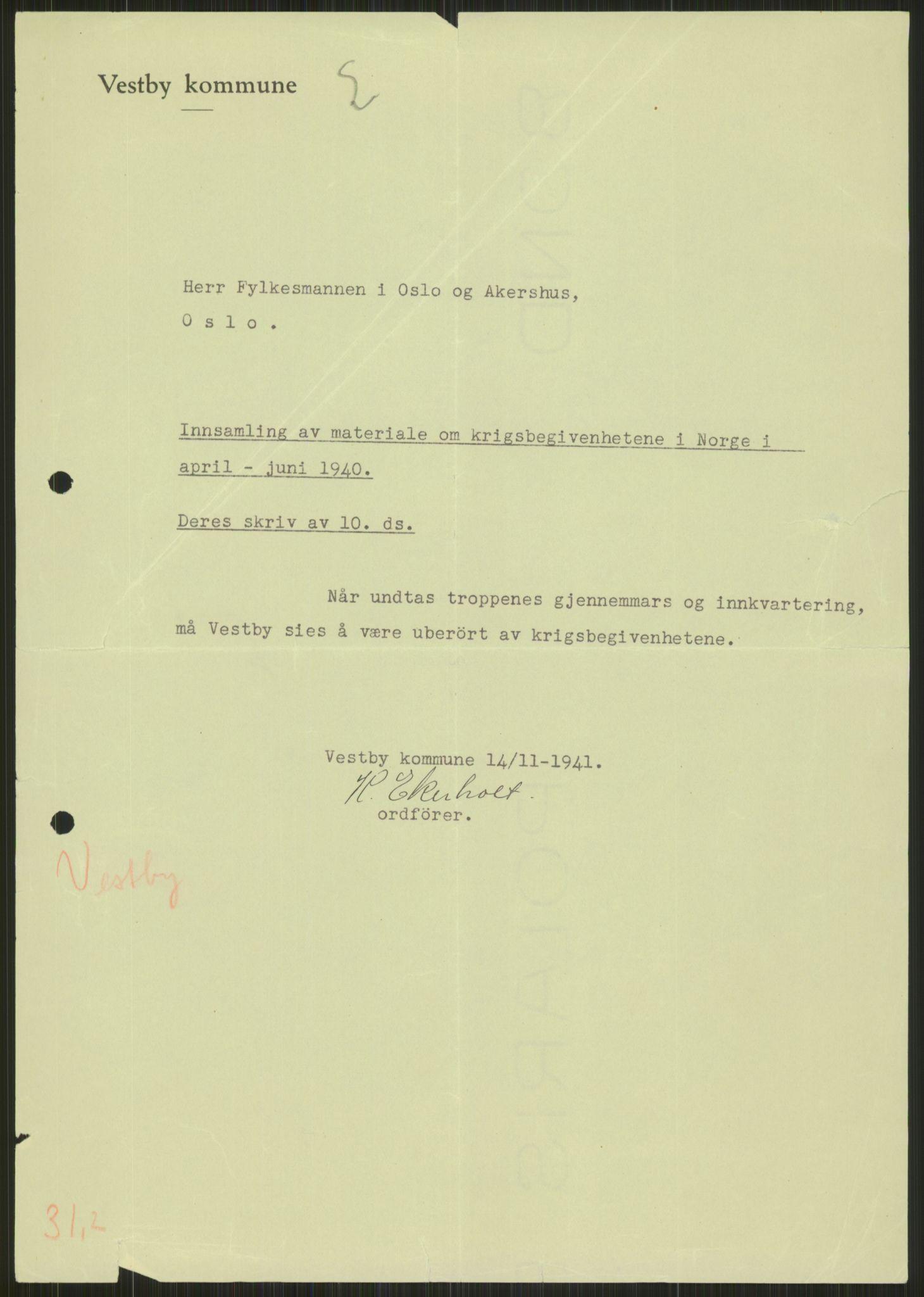 RA, Forsvaret, Forsvarets krigshistoriske avdeling, Y/Ya/L0013: II-C-11-31 - Fylkesmenn.  Rapporter om krigsbegivenhetene 1940., 1940, s. 843