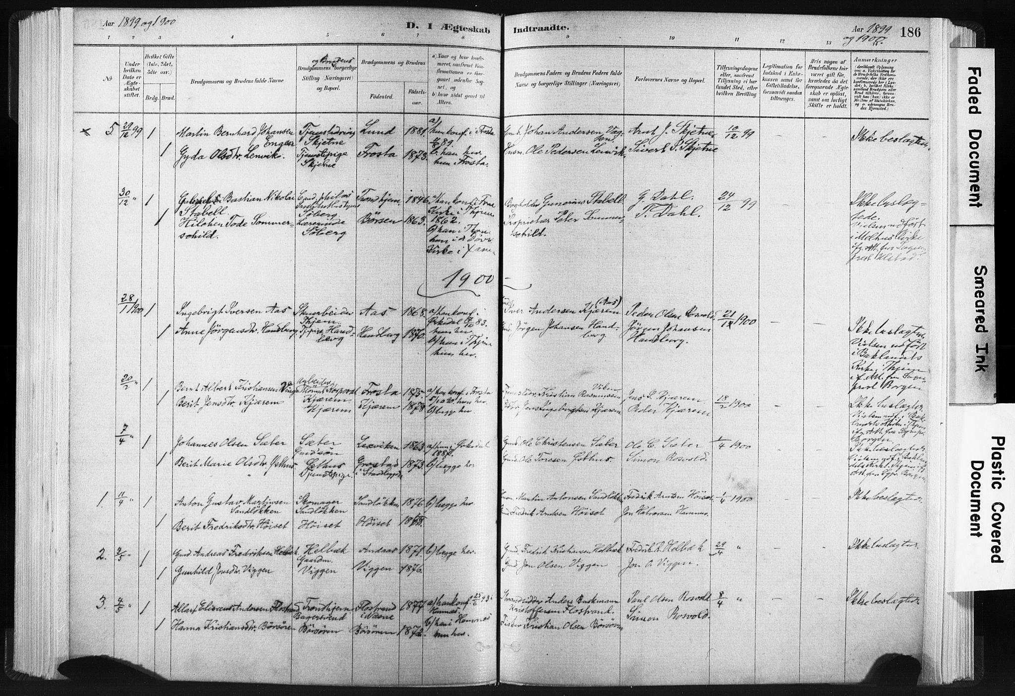 SAT, Ministerialprotokoller, klokkerbøker og fødselsregistre - Sør-Trøndelag, 665/L0773: Ministerialbok nr. 665A08, 1879-1905, s. 186