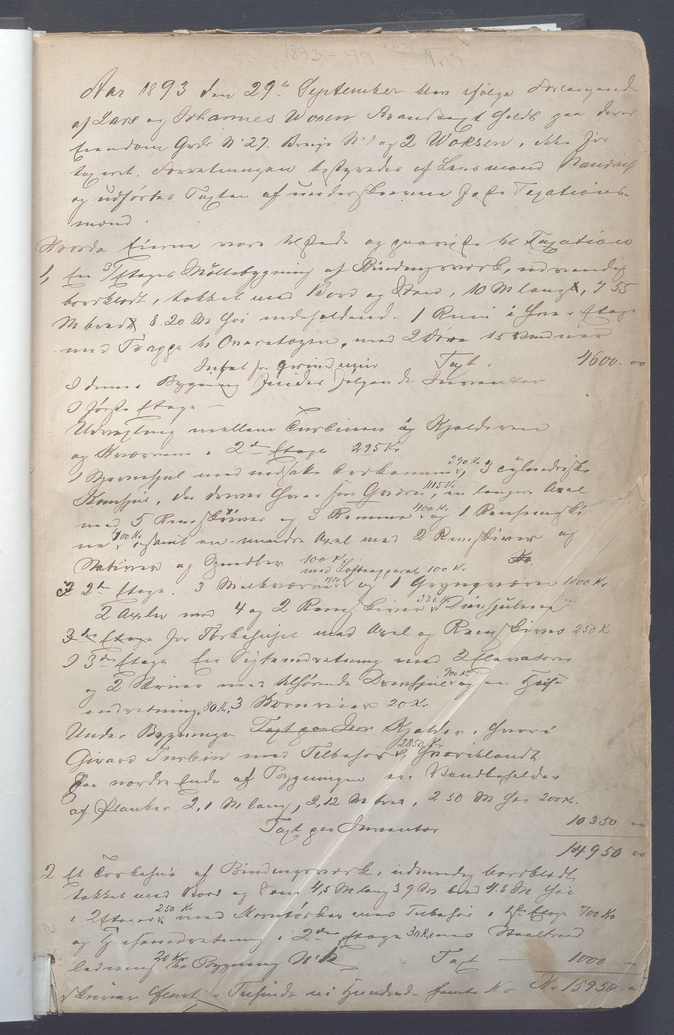 OBA, Lensmennene i Aker, F/Fa/L0008: Branntakstprotokoll, 1893-1899, s. 1a