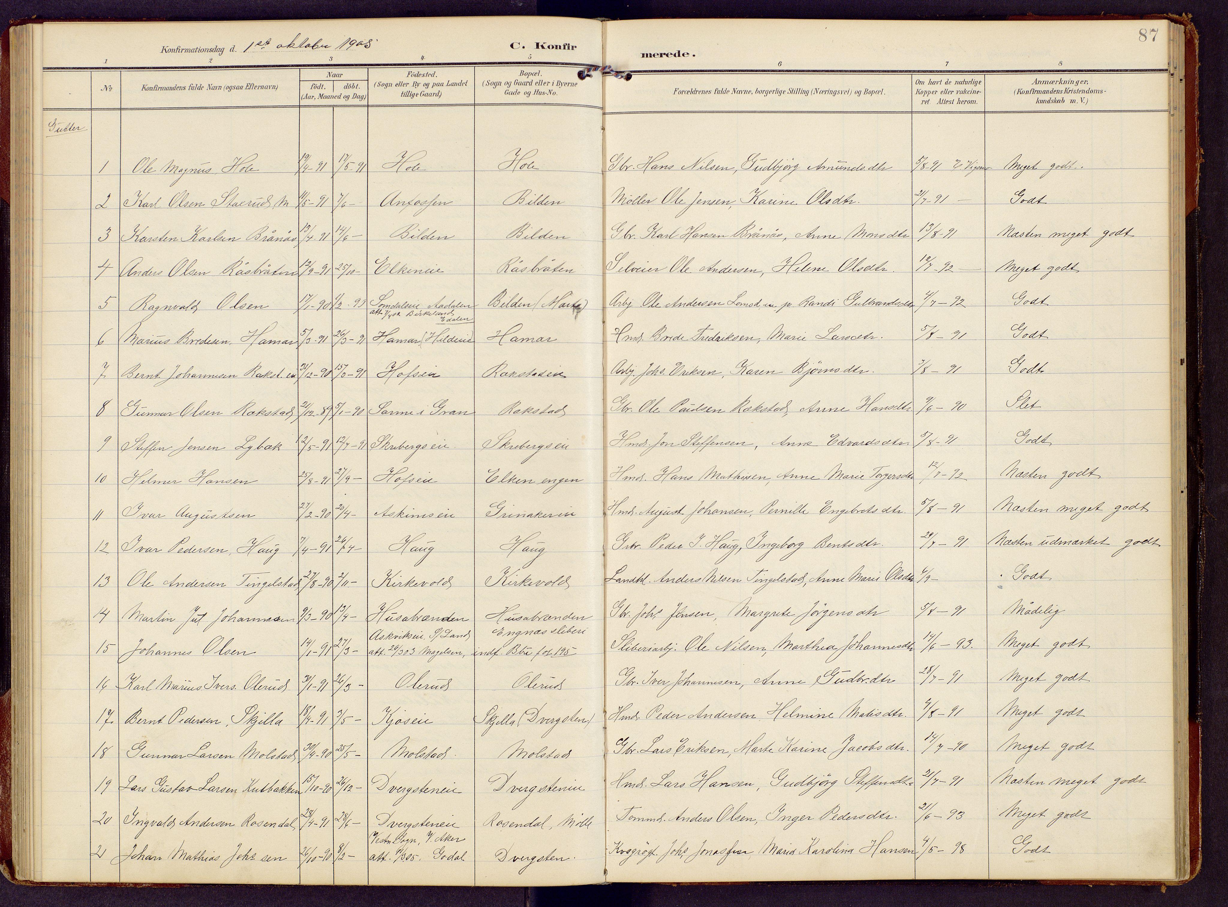 SAH, Brandbu prestekontor, Klokkerbok nr. 9, 1903-1916, s. 87