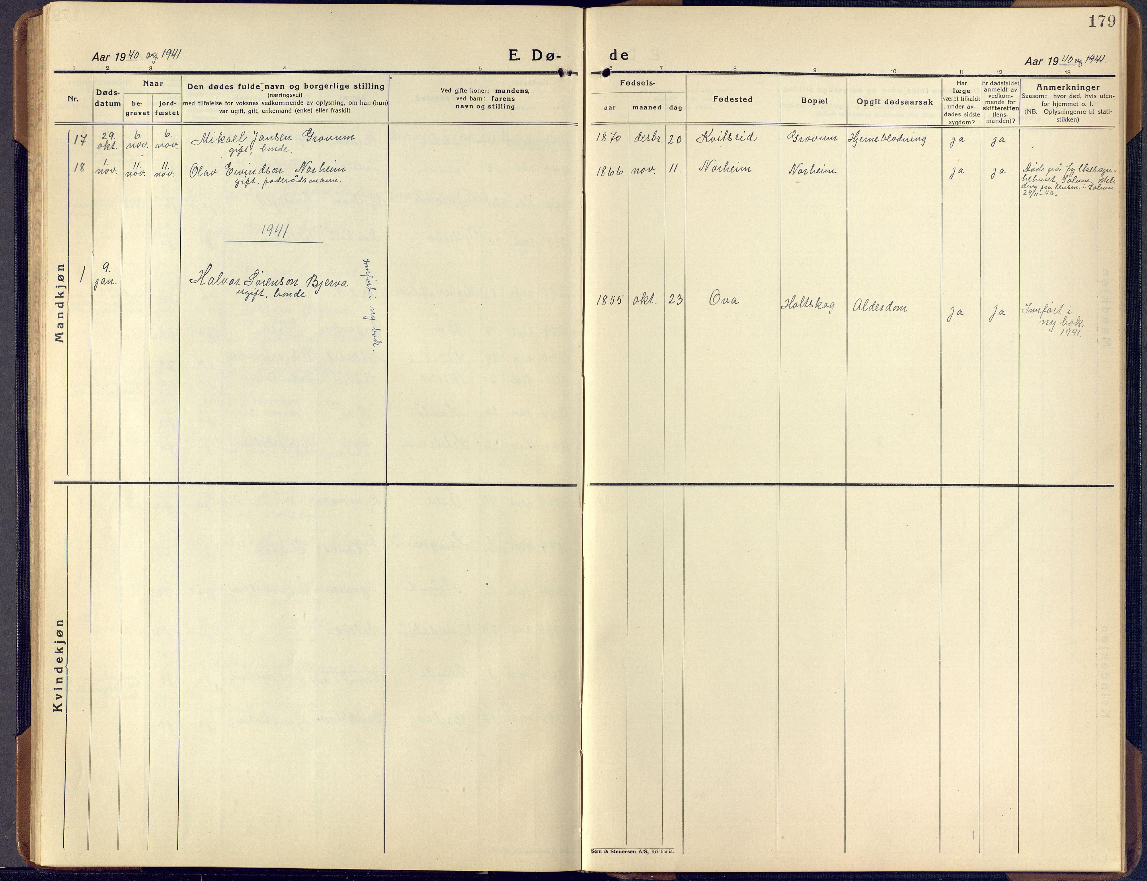 SAKO, Lunde kirkebøker, F/Fa/L0006: Ministerialbok nr. I 6, 1922-1940, s. 179