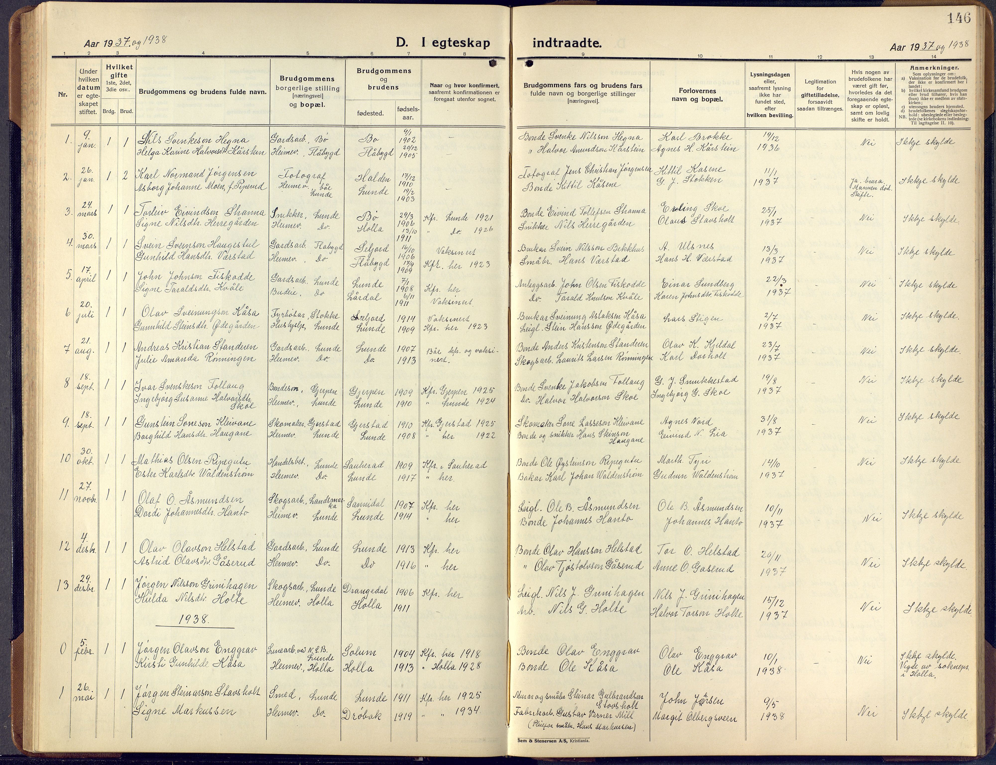 SAKO, Lunde kirkebøker, F/Fa/L0006: Ministerialbok nr. I 6, 1922-1940, s. 146