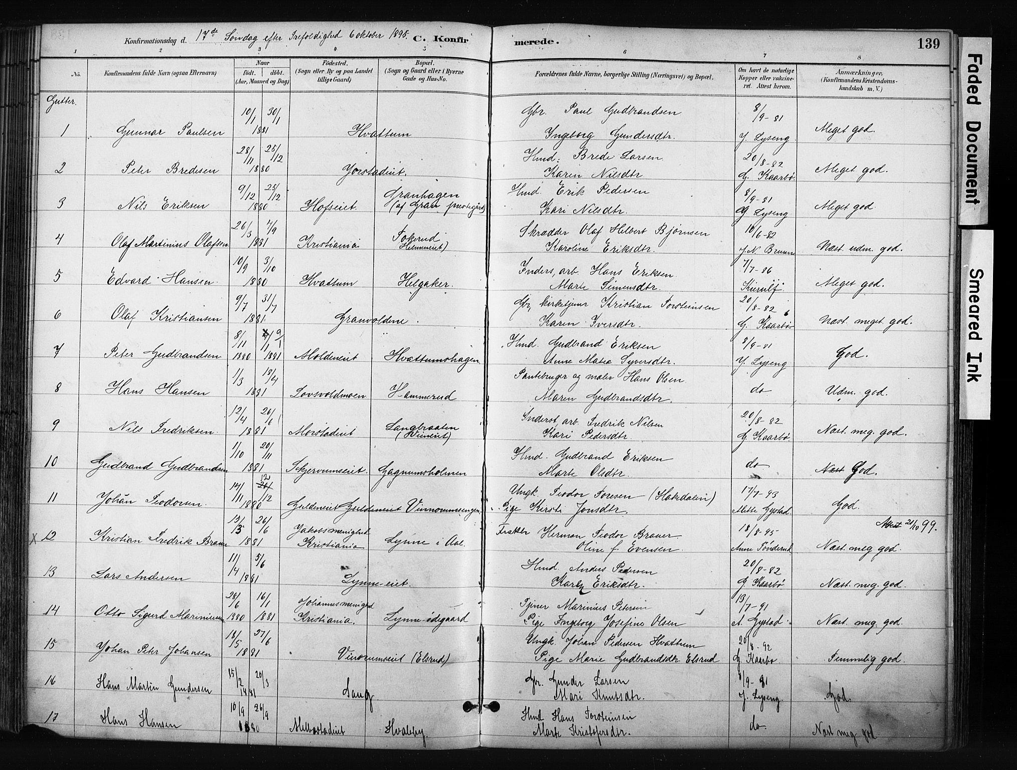 SAH, Gran prestekontor, Ministerialbok nr. 17, 1889-1897, s. 139