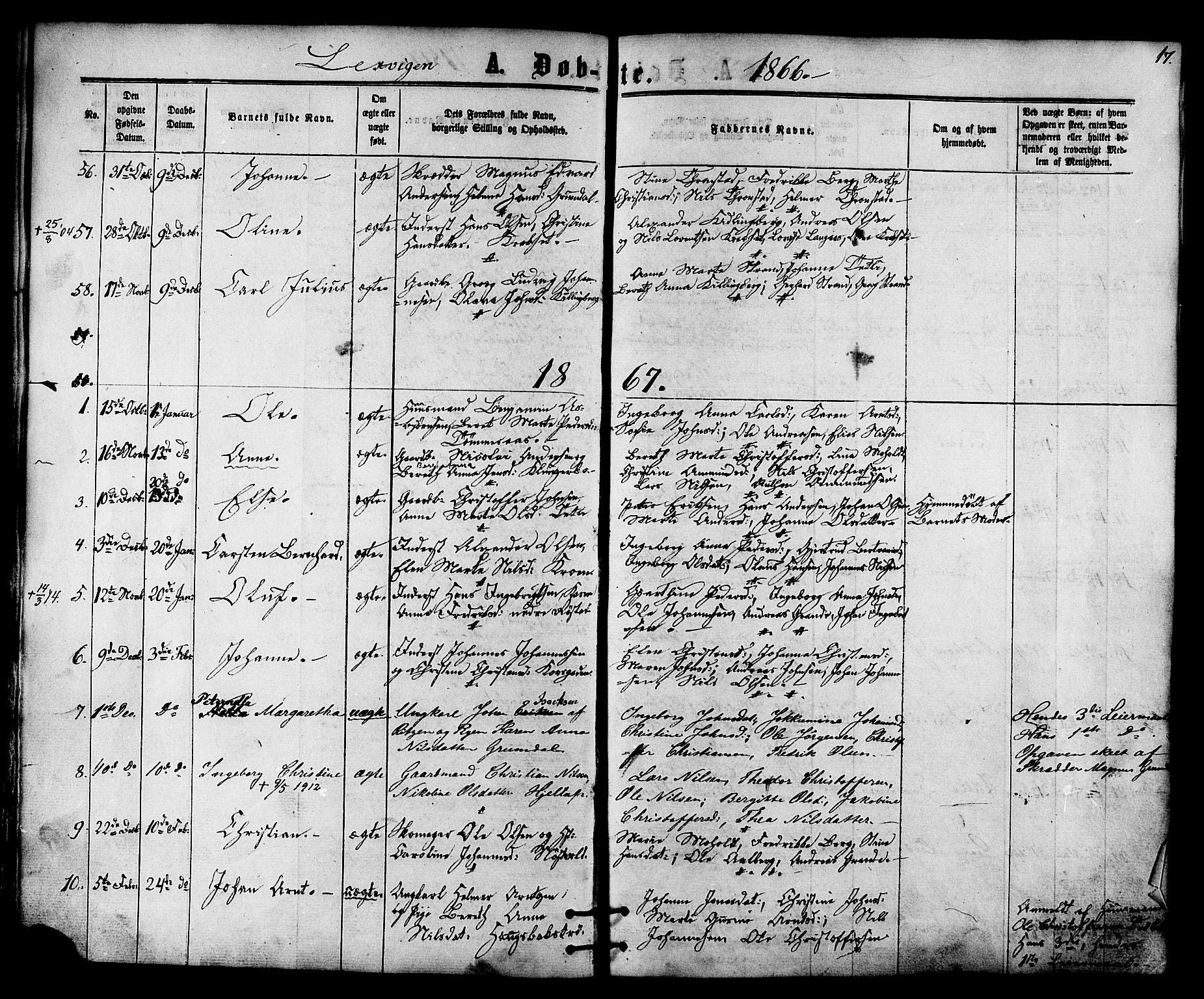 SAT, Ministerialprotokoller, klokkerbøker og fødselsregistre - Nord-Trøndelag, 701/L0009: Ministerialbok nr. 701A09 /1, 1864-1882, s. 17