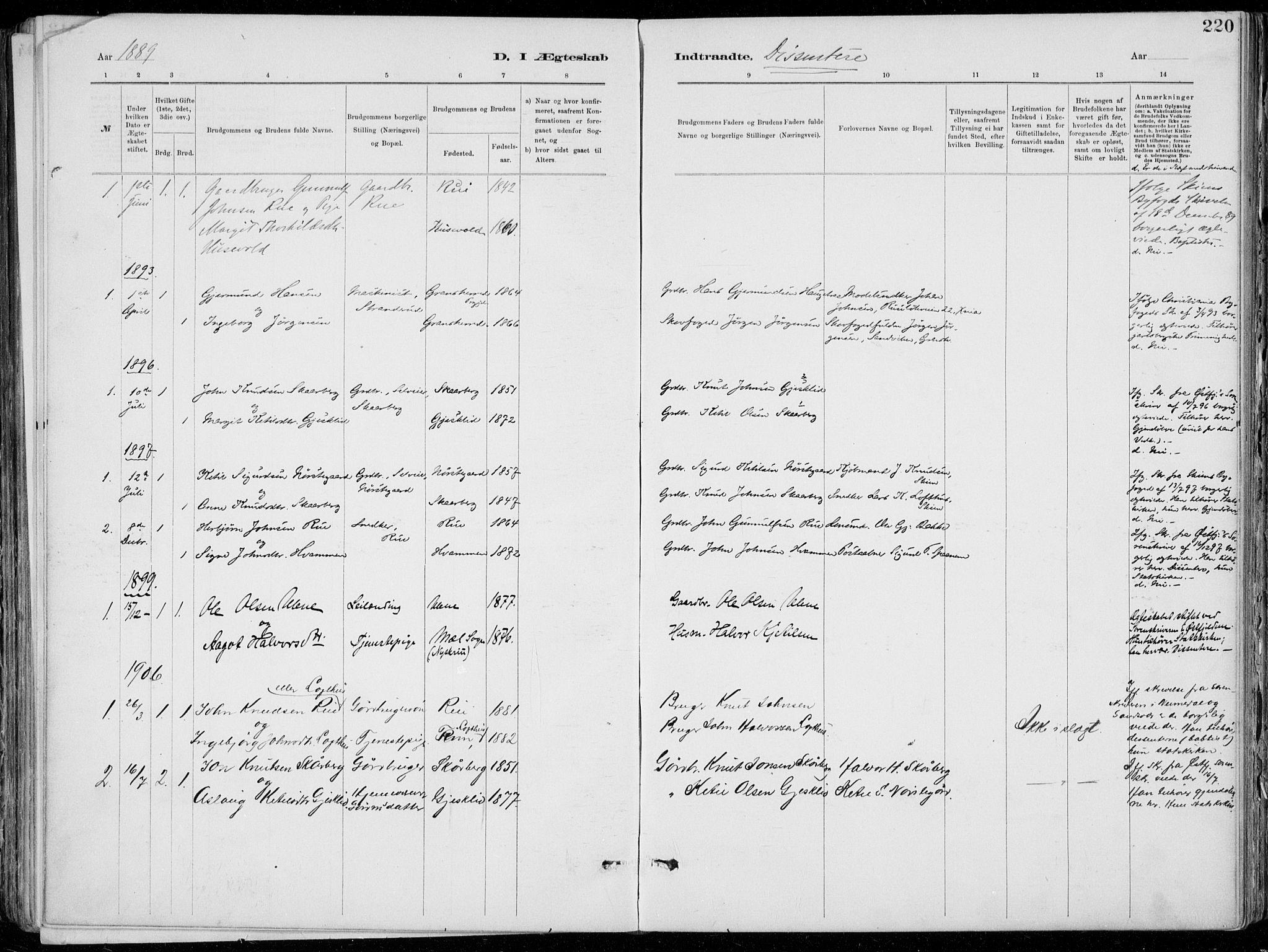 SAKO, Tinn kirkebøker, F/Fa/L0007: Ministerialbok nr. I 7, 1878-1922, s. 220