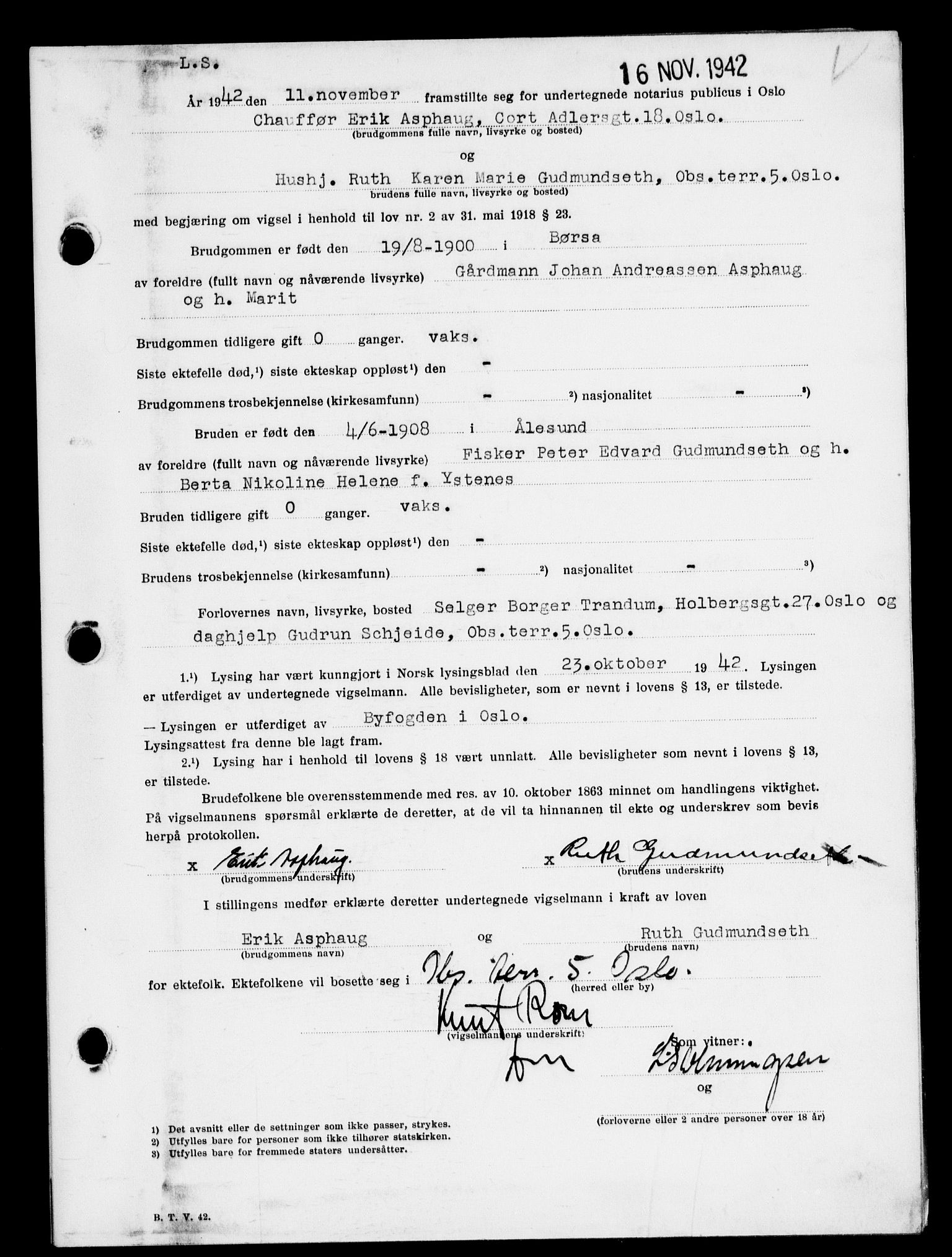 SAO, Oslo byfogd avd. I, L/Lb/Lbb/L0042: Notarialprotokoll, rekke II: Vigsler, 1942, s. upaginert