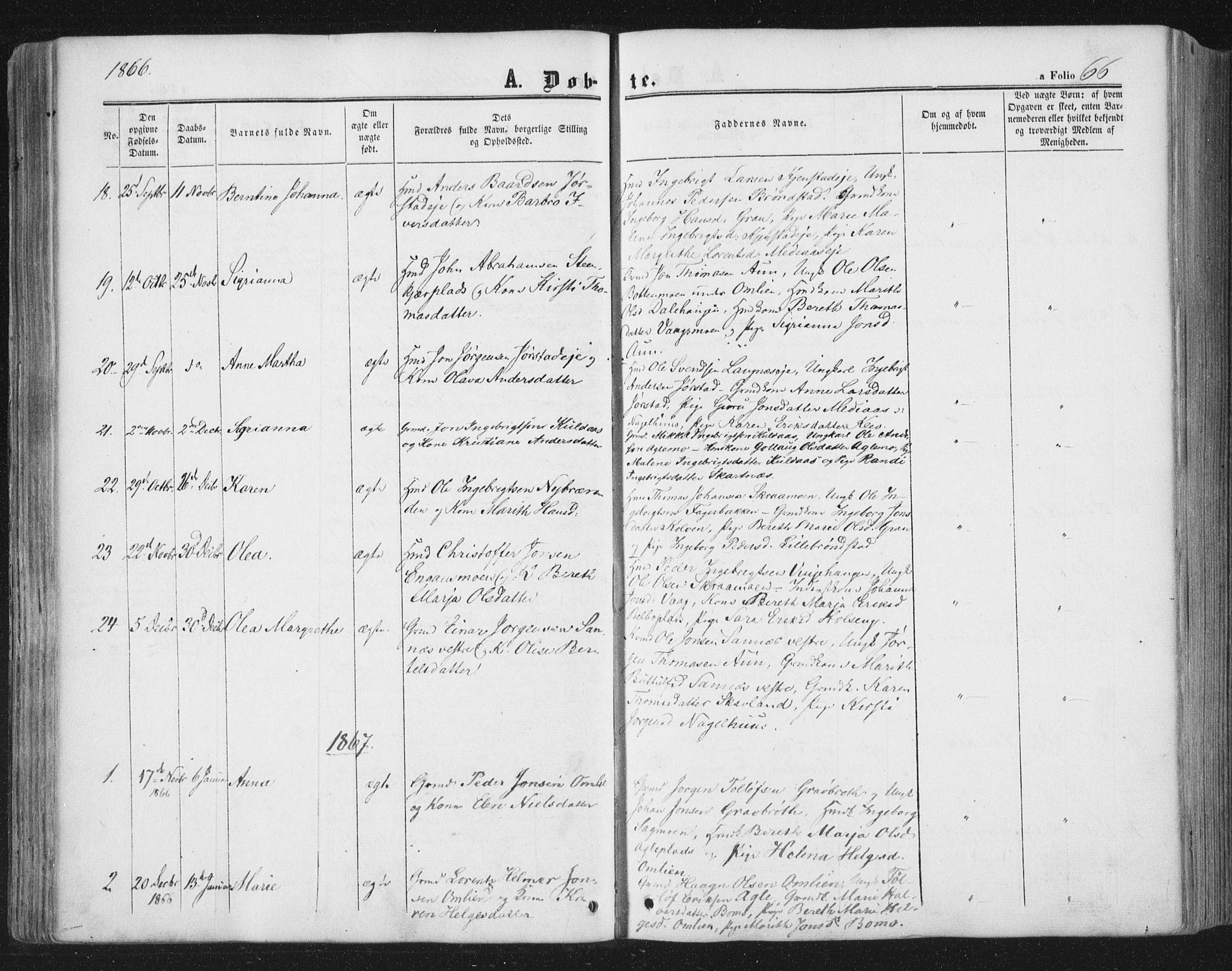 SAT, Ministerialprotokoller, klokkerbøker og fødselsregistre - Nord-Trøndelag, 749/L0472: Ministerialbok nr. 749A06, 1857-1873, s. 66