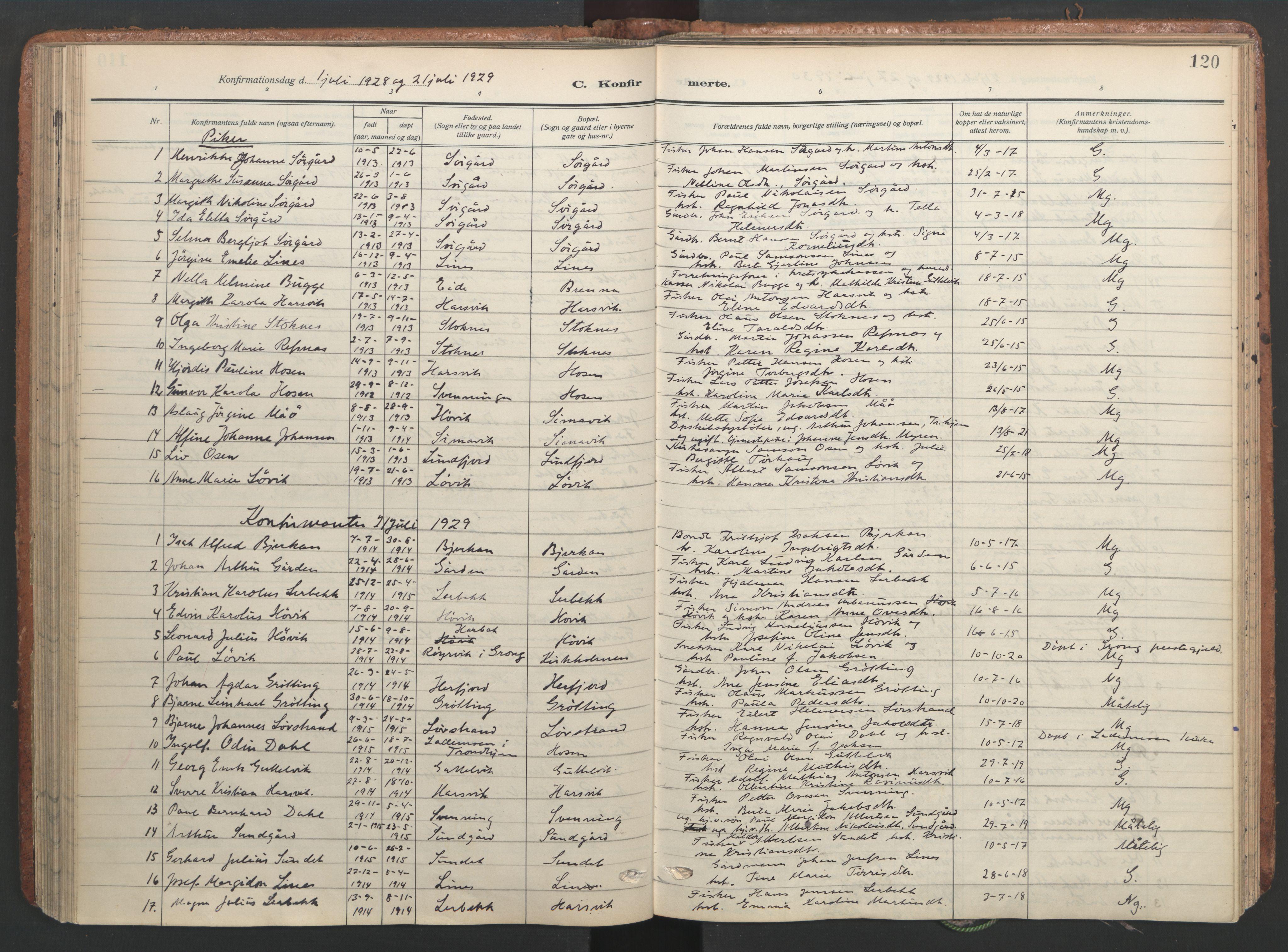 SAT, Ministerialprotokoller, klokkerbøker og fødselsregistre - Sør-Trøndelag, 656/L0694: Ministerialbok nr. 656A03, 1914-1931, s. 120
