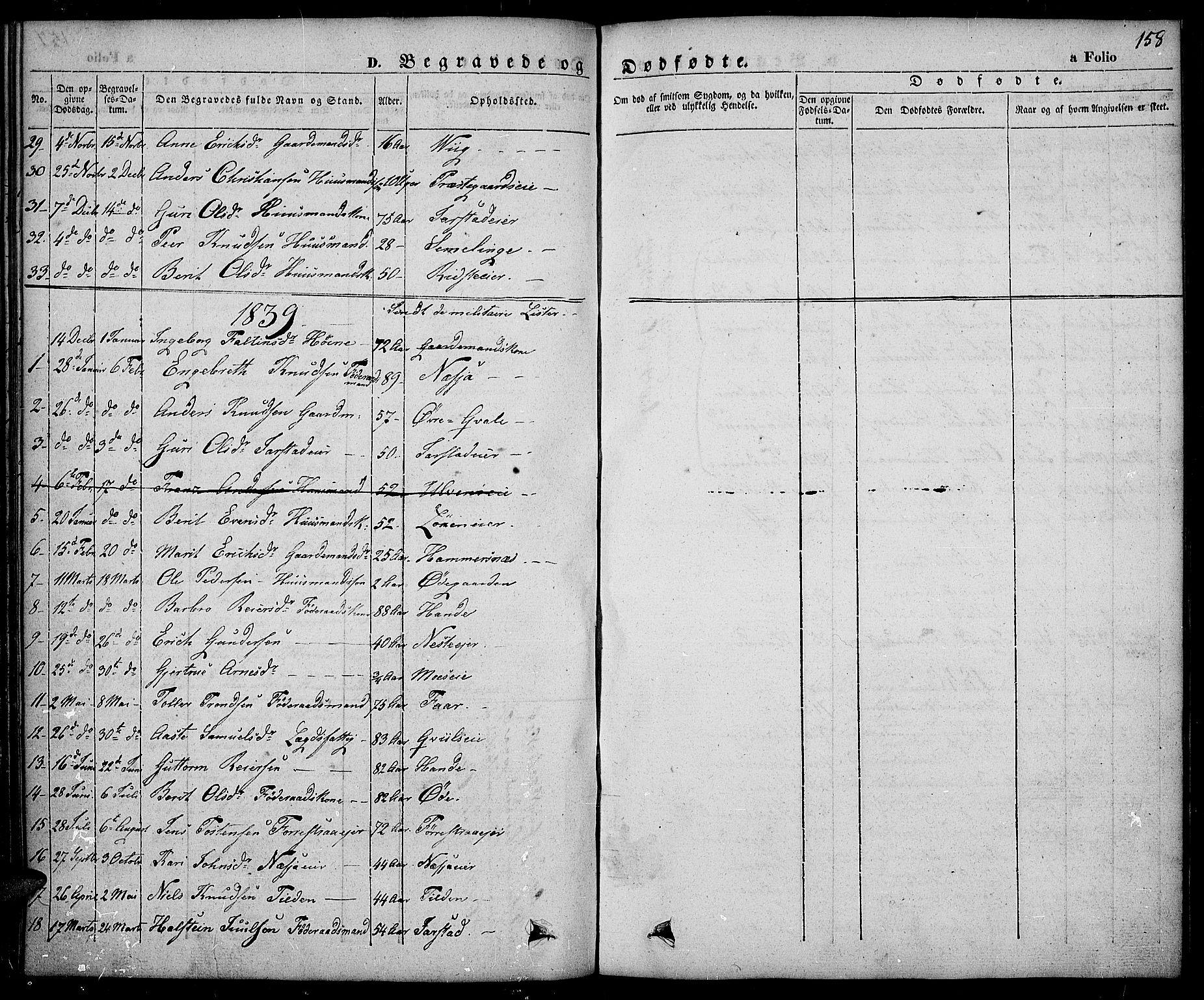 SAH, Slidre prestekontor, Ministerialbok nr. 3, 1831-1843, s. 158