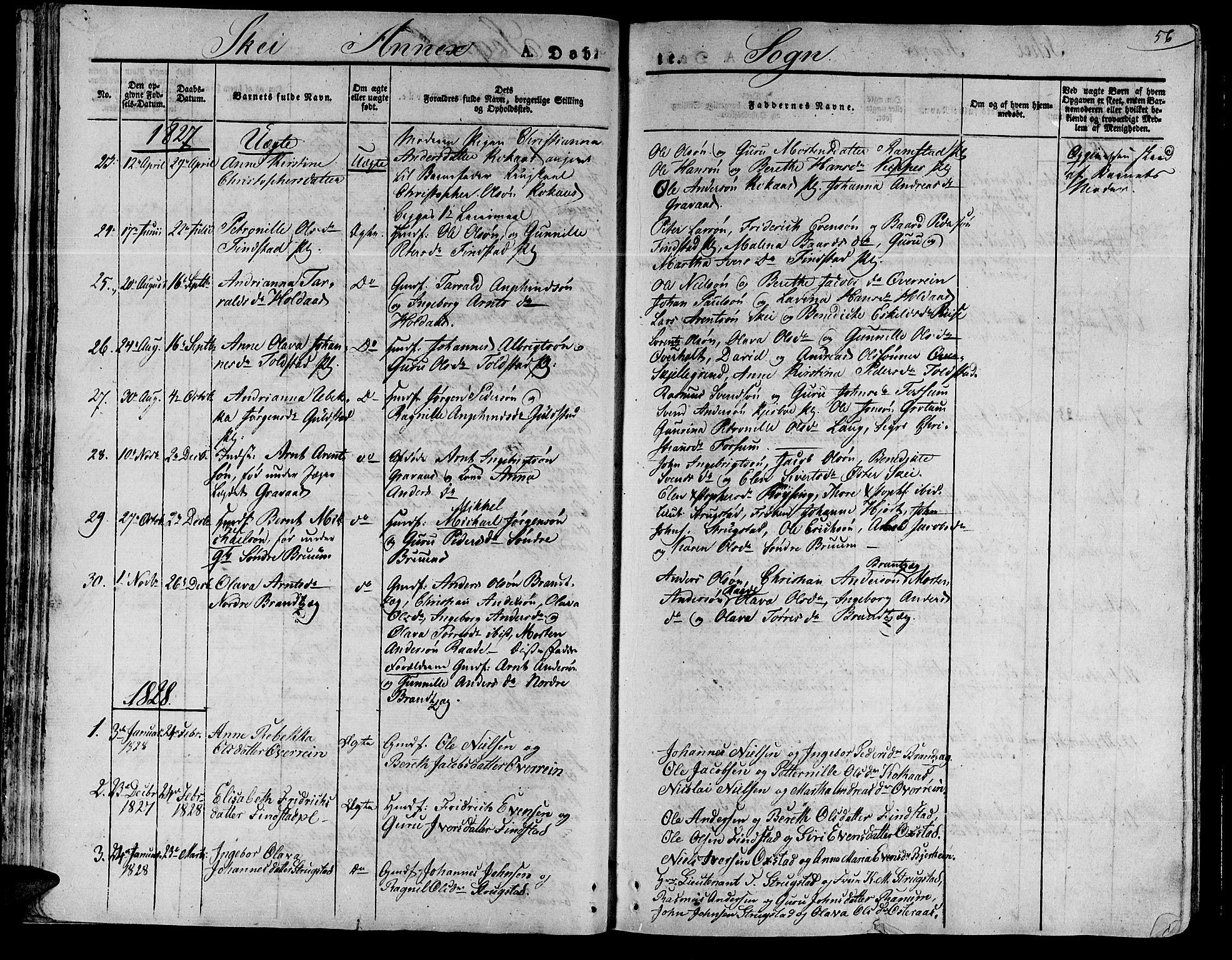 SAT, Ministerialprotokoller, klokkerbøker og fødselsregistre - Nord-Trøndelag, 735/L0336: Ministerialbok nr. 735A05 /2, 1825-1835, s. 56