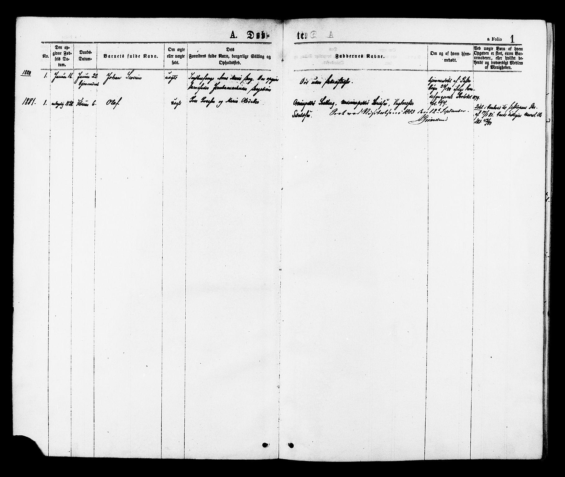 SAT, Ministerialprotokoller, klokkerbøker og fødselsregistre - Sør-Trøndelag, 624/L0482: Ministerialbok nr. 624A03, 1870-1918, s. 1