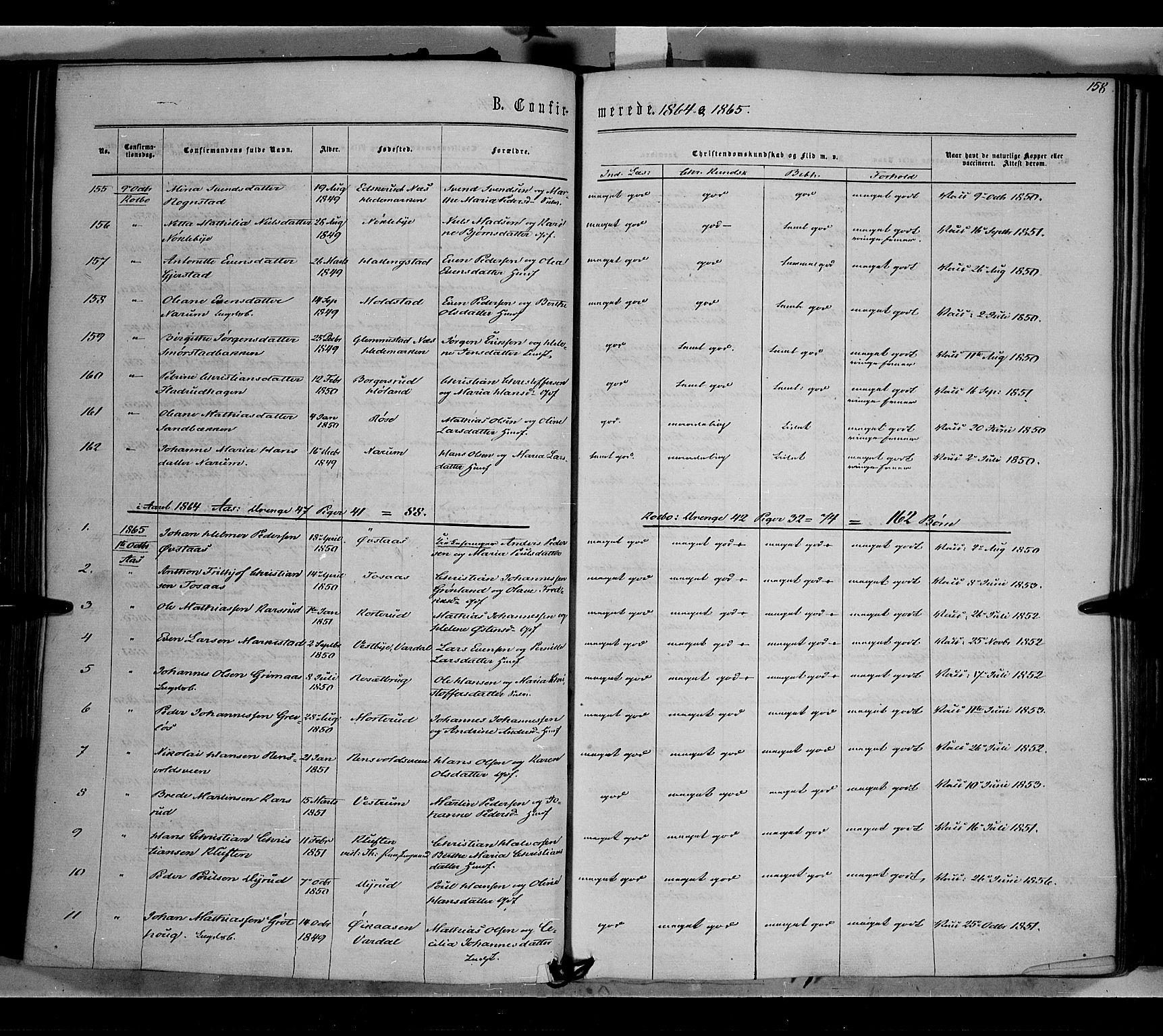 SAH, Vestre Toten prestekontor, Ministerialbok nr. 7, 1862-1869, s. 158