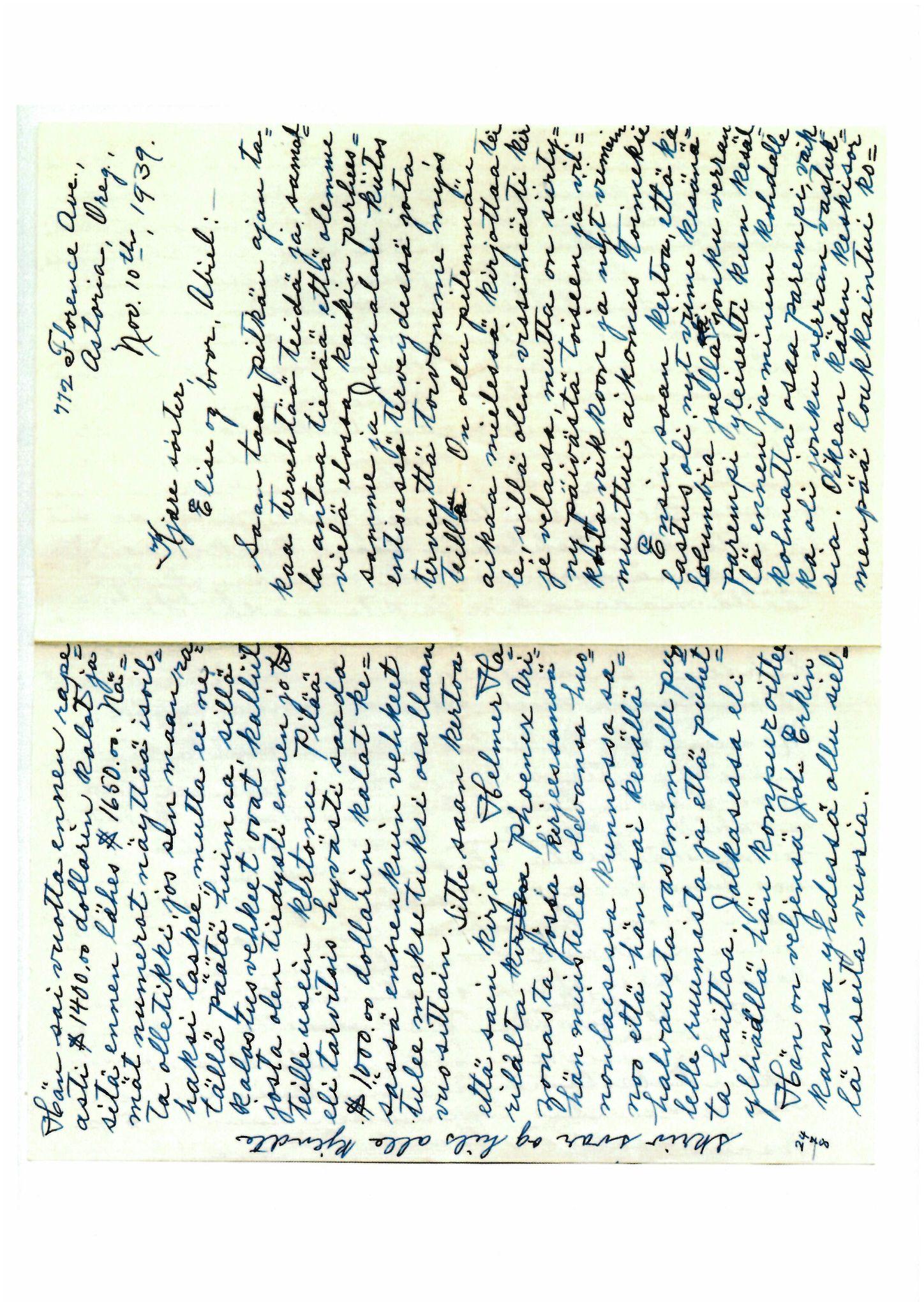FMFB, Elise Balos brevsamling, F/Fb/L0007:  Brev fra Hans J. Lilleeng til Elise Balo, 1939