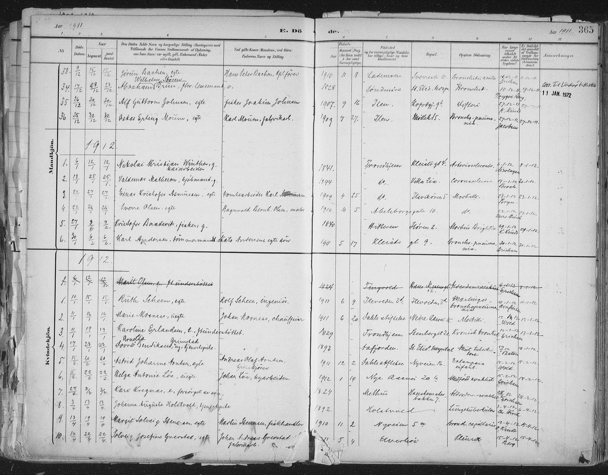 SAT, Ministerialprotokoller, klokkerbøker og fødselsregistre - Sør-Trøndelag, 603/L0167: Ministerialbok nr. 603A06, 1896-1932, s. 365