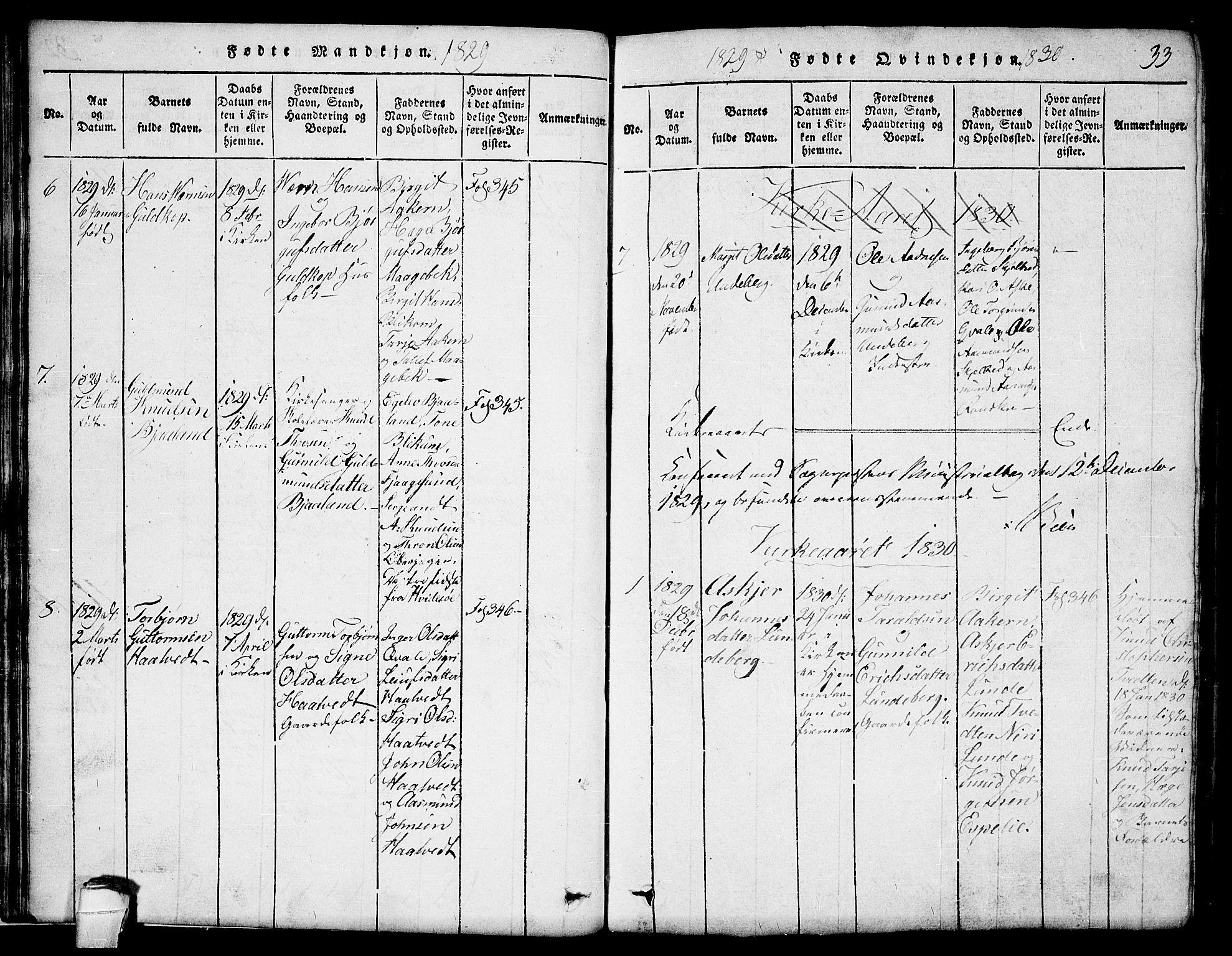 SAKO, Lårdal kirkebøker, G/Ga/L0001: Klokkerbok nr. I 1, 1815-1861, s. 33