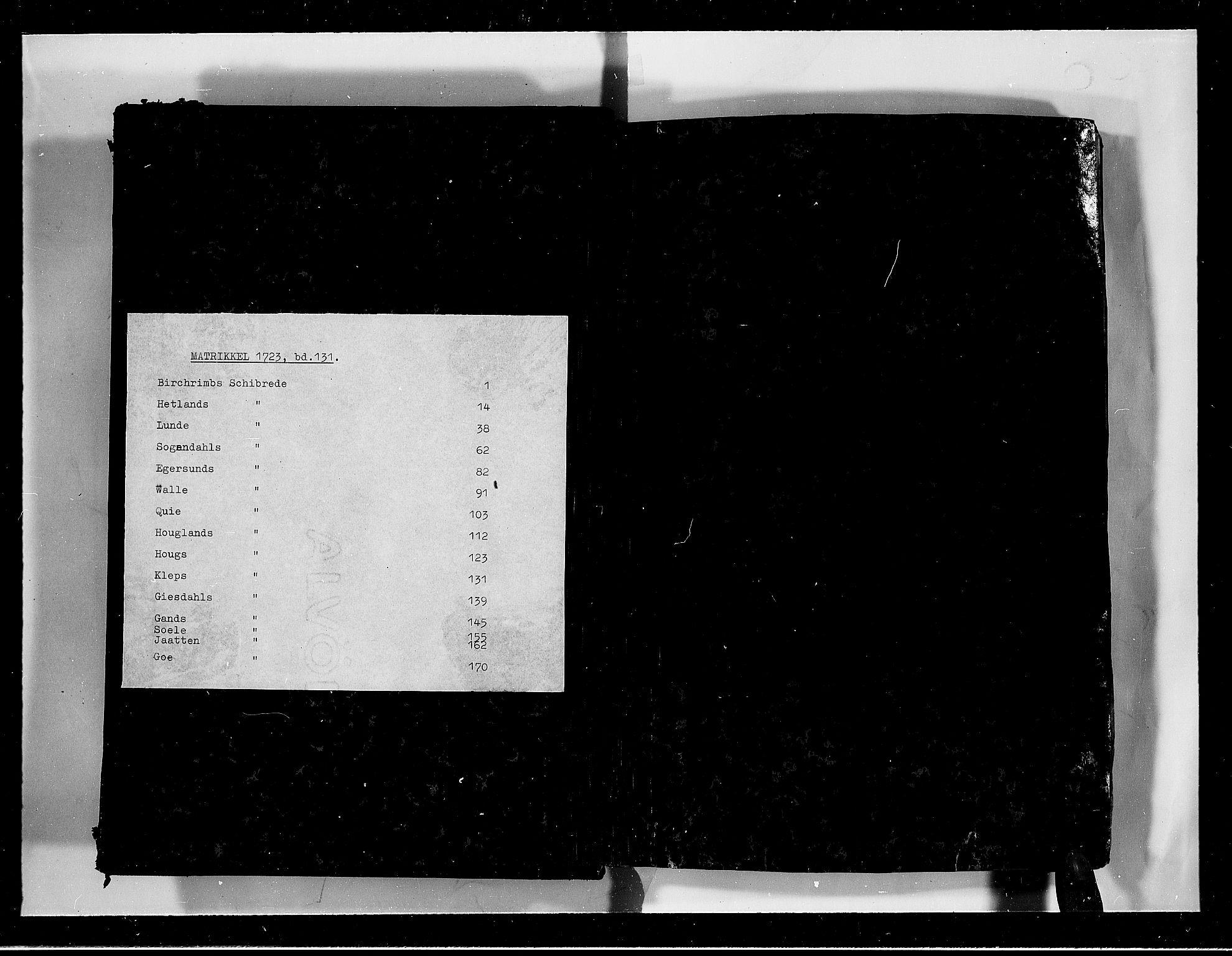 RA, Rentekammeret inntil 1814, Realistisk ordnet avdeling, N/Nb/Nbf/L0131: Jæren og Dalane eksaminasjonsprotokoll, 1723, s. upaginert