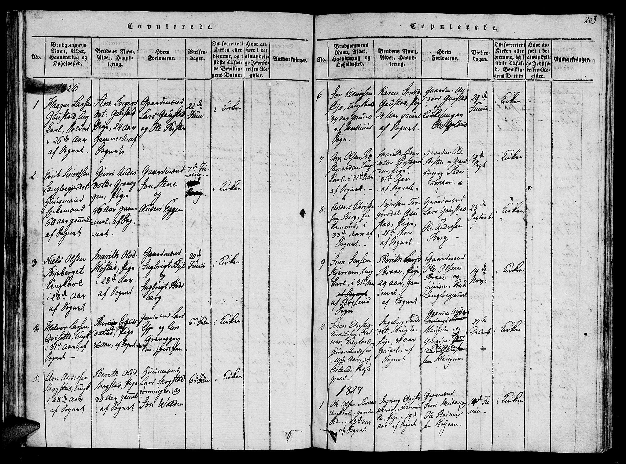 SAT, Ministerialprotokoller, klokkerbøker og fødselsregistre - Sør-Trøndelag, 612/L0372: Ministerialbok nr. 612A06 /1, 1816-1828, s. 203