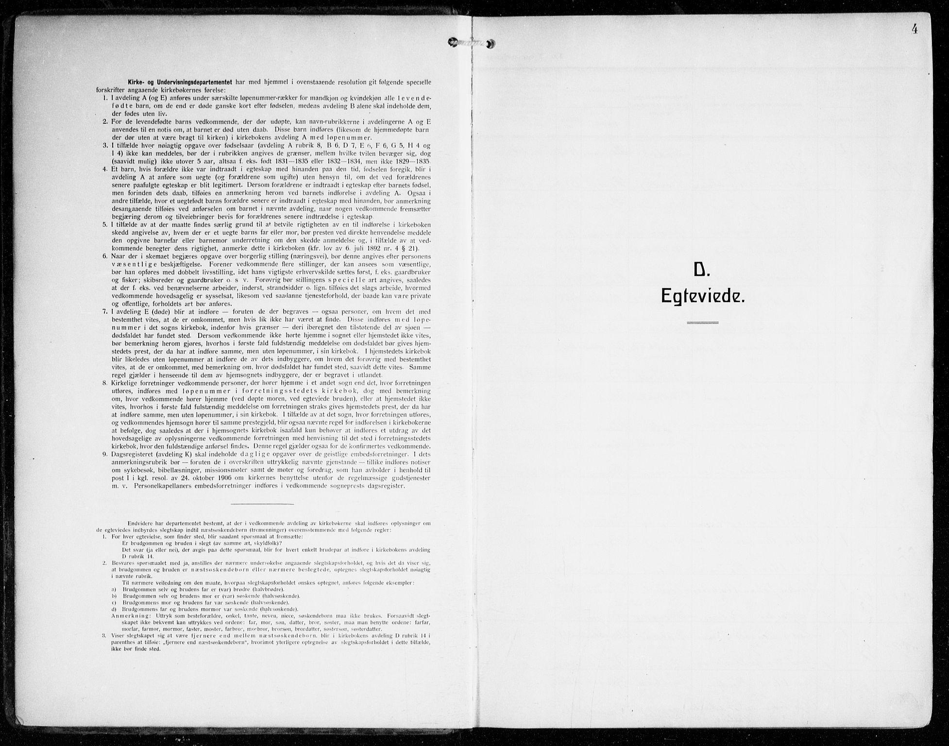 SAB, Johanneskirken Sokneprestembete, H/Haa/L0013: Ministerialbok nr. D 2, 1912-1929, s. 4