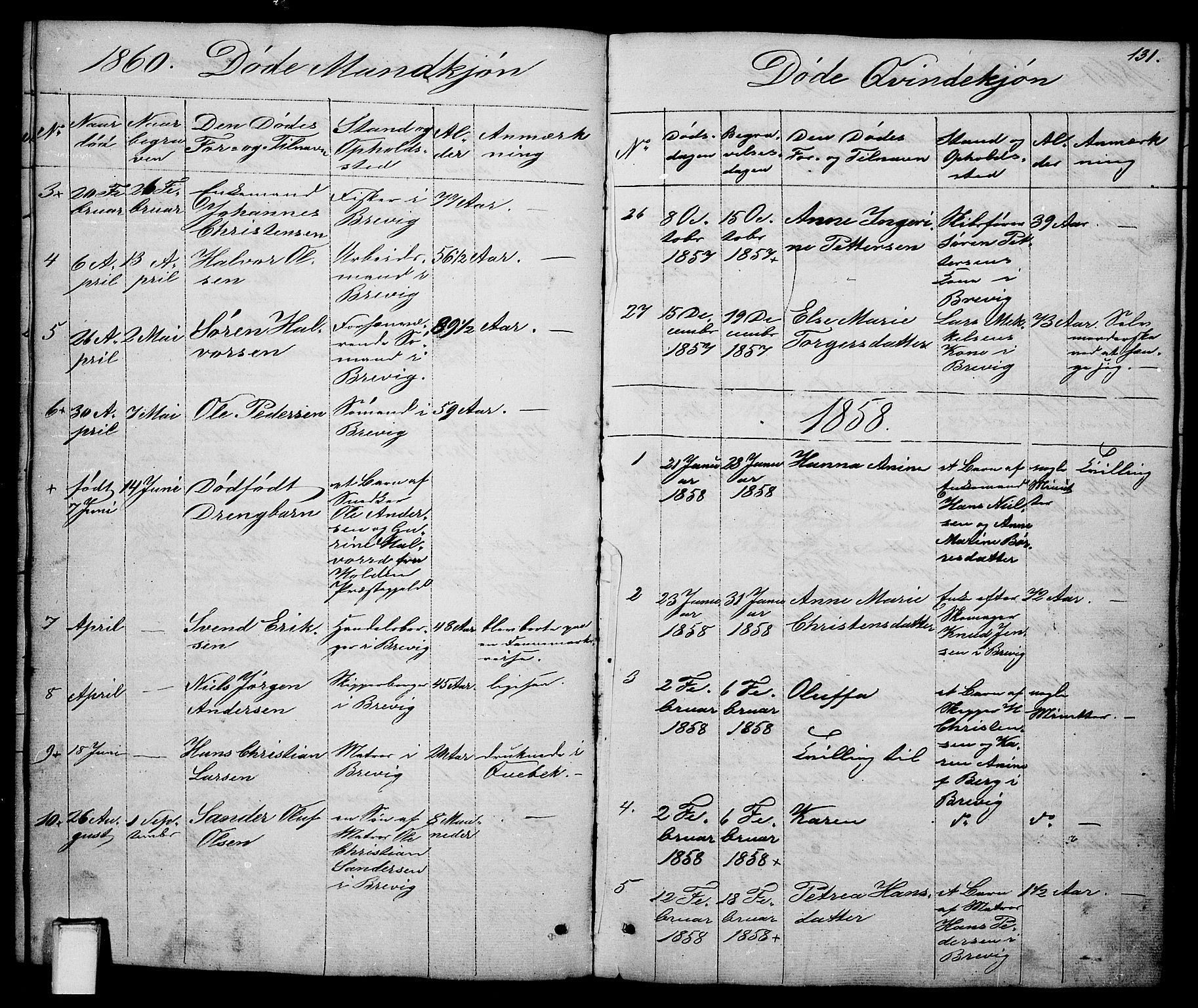 SAKO, Brevik kirkebøker, G/Ga/L0002: Klokkerbok nr. 2, 1846-1865, s. 131
