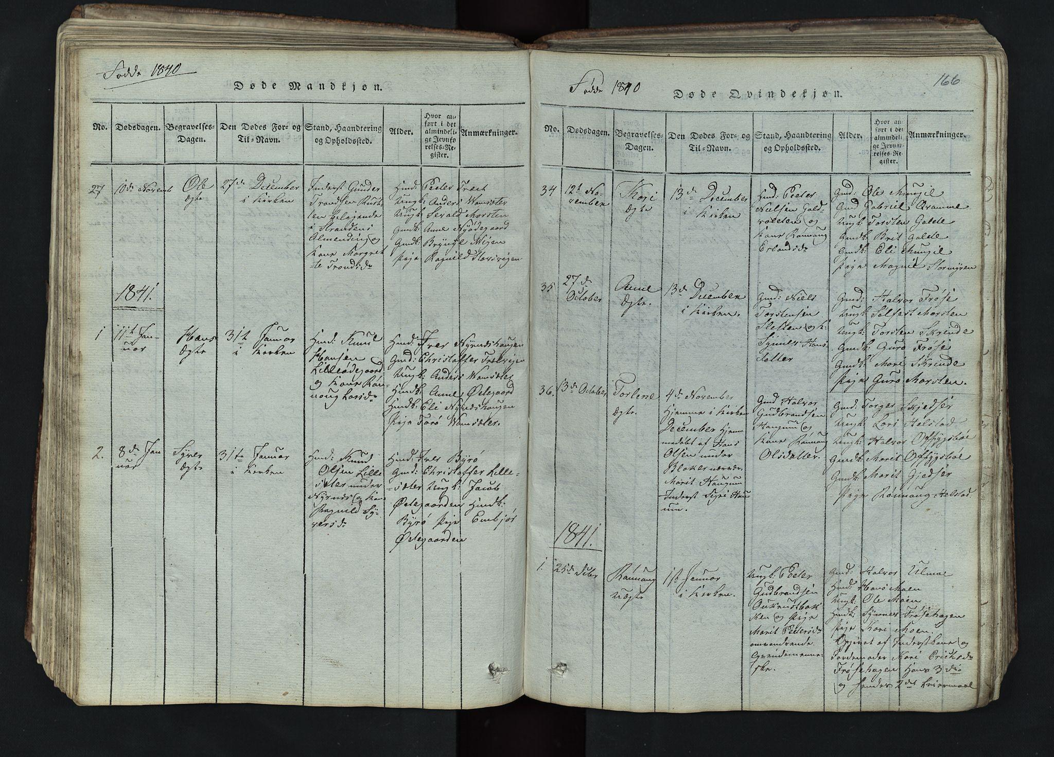 SAH, Lom prestekontor, L/L0002: Klokkerbok nr. 2, 1815-1844, s. 166