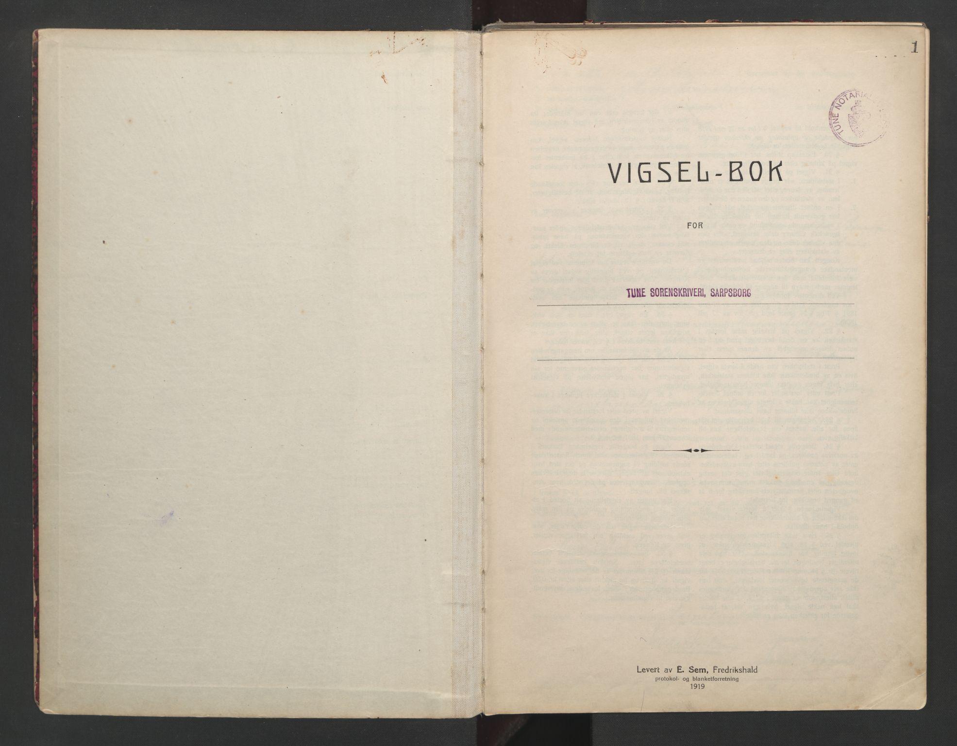 SAO, Tune sorenskriveri, L/Lb/L0001: Vigselprotokoll, 1923-1943, s. 1