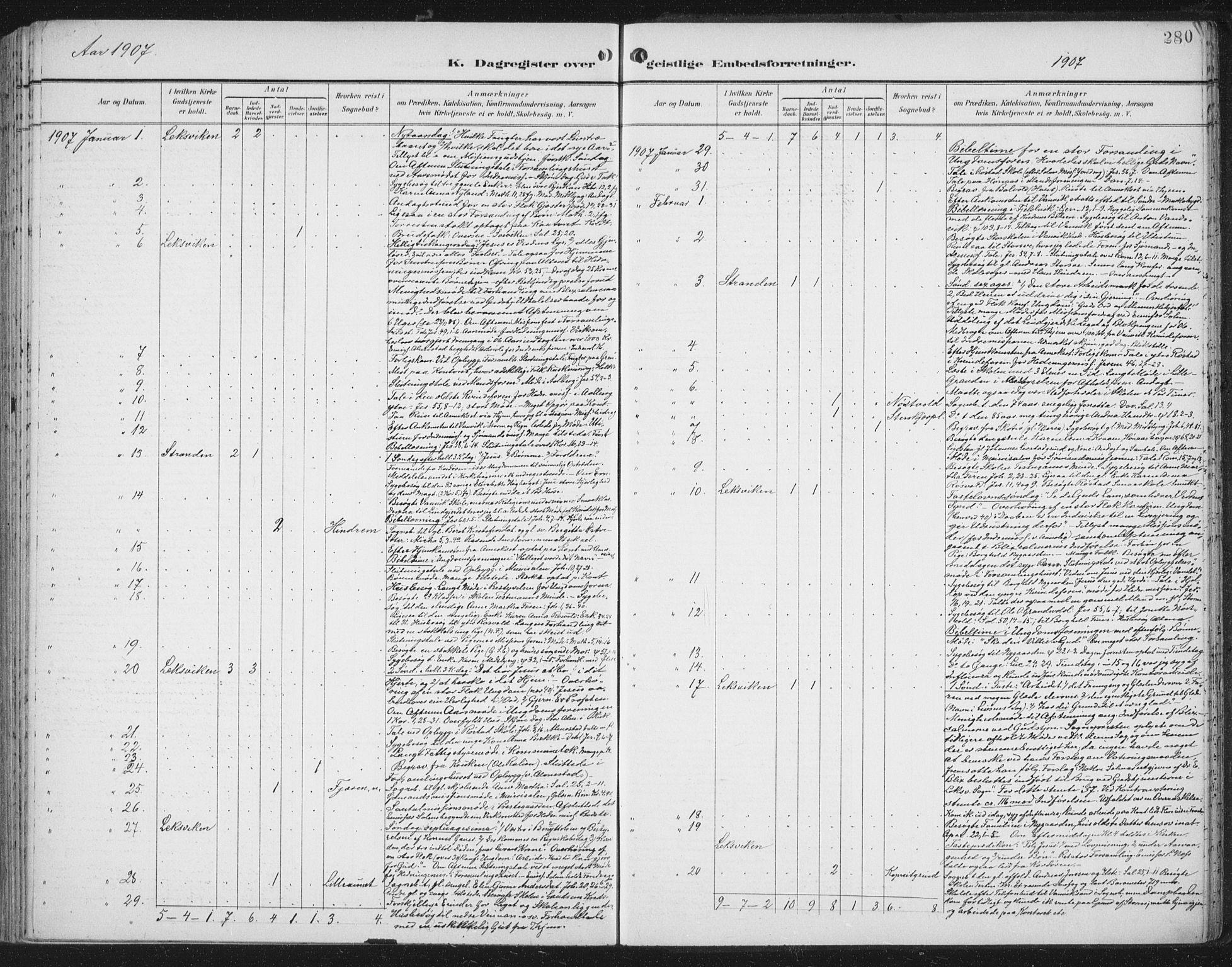 SAT, Ministerialprotokoller, klokkerbøker og fødselsregistre - Nord-Trøndelag, 701/L0011: Ministerialbok nr. 701A11, 1899-1915, s. 280