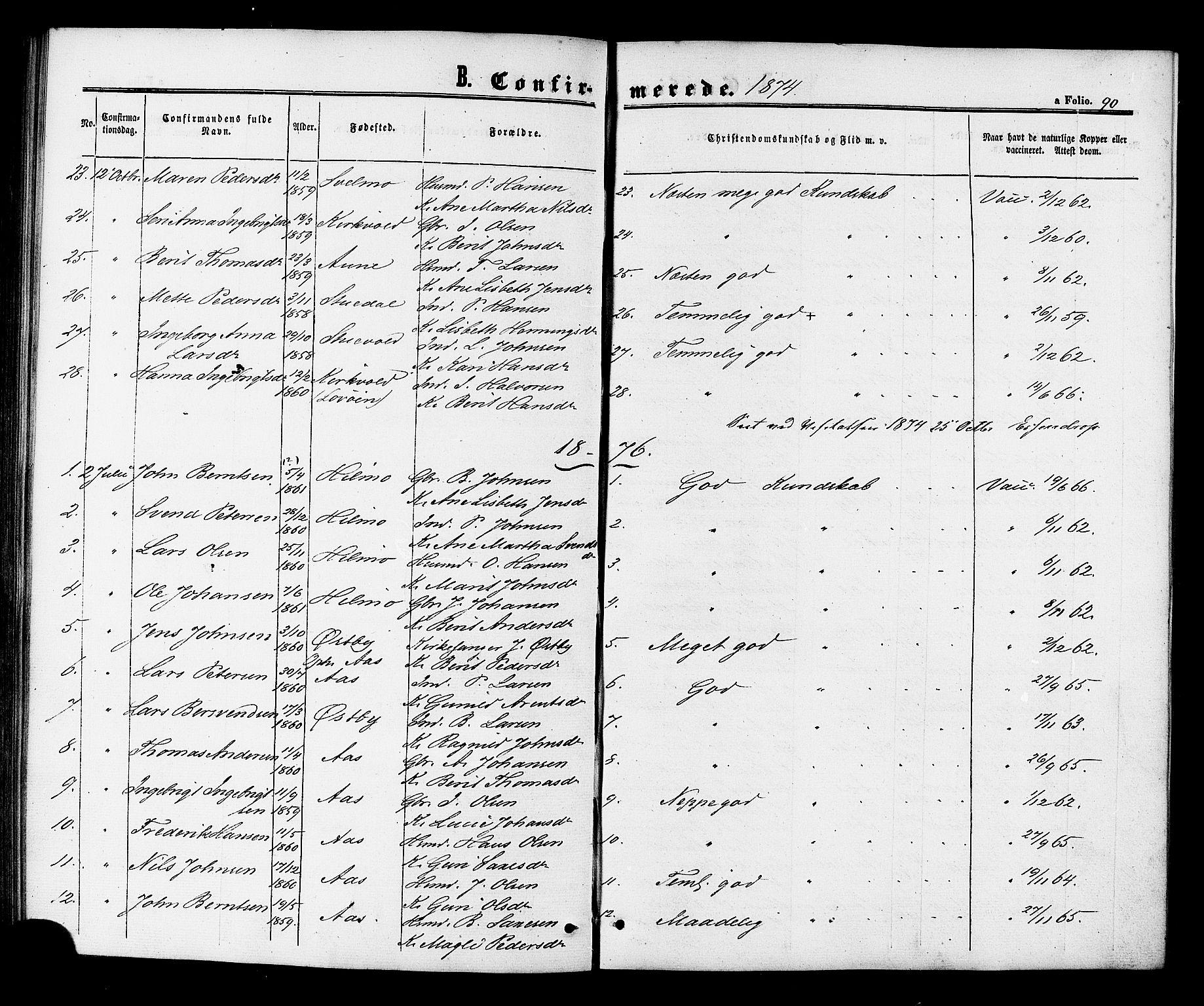 SAT, Ministerialprotokoller, klokkerbøker og fødselsregistre - Sør-Trøndelag, 698/L1163: Ministerialbok nr. 698A01, 1862-1887, s. 90