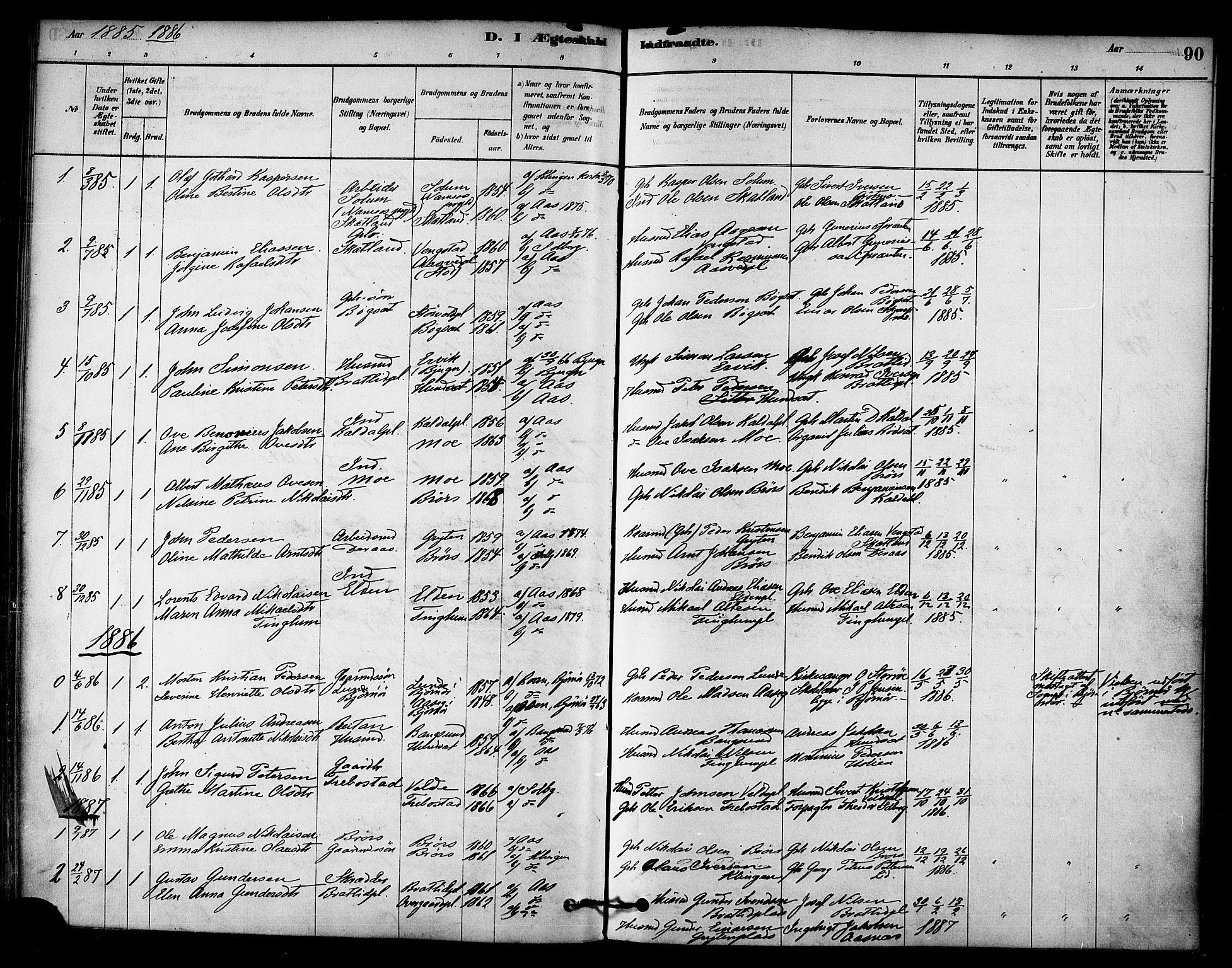 SAT, Ministerialprotokoller, klokkerbøker og fødselsregistre - Nord-Trøndelag, 742/L0408: Ministerialbok nr. 742A01, 1878-1890, s. 90