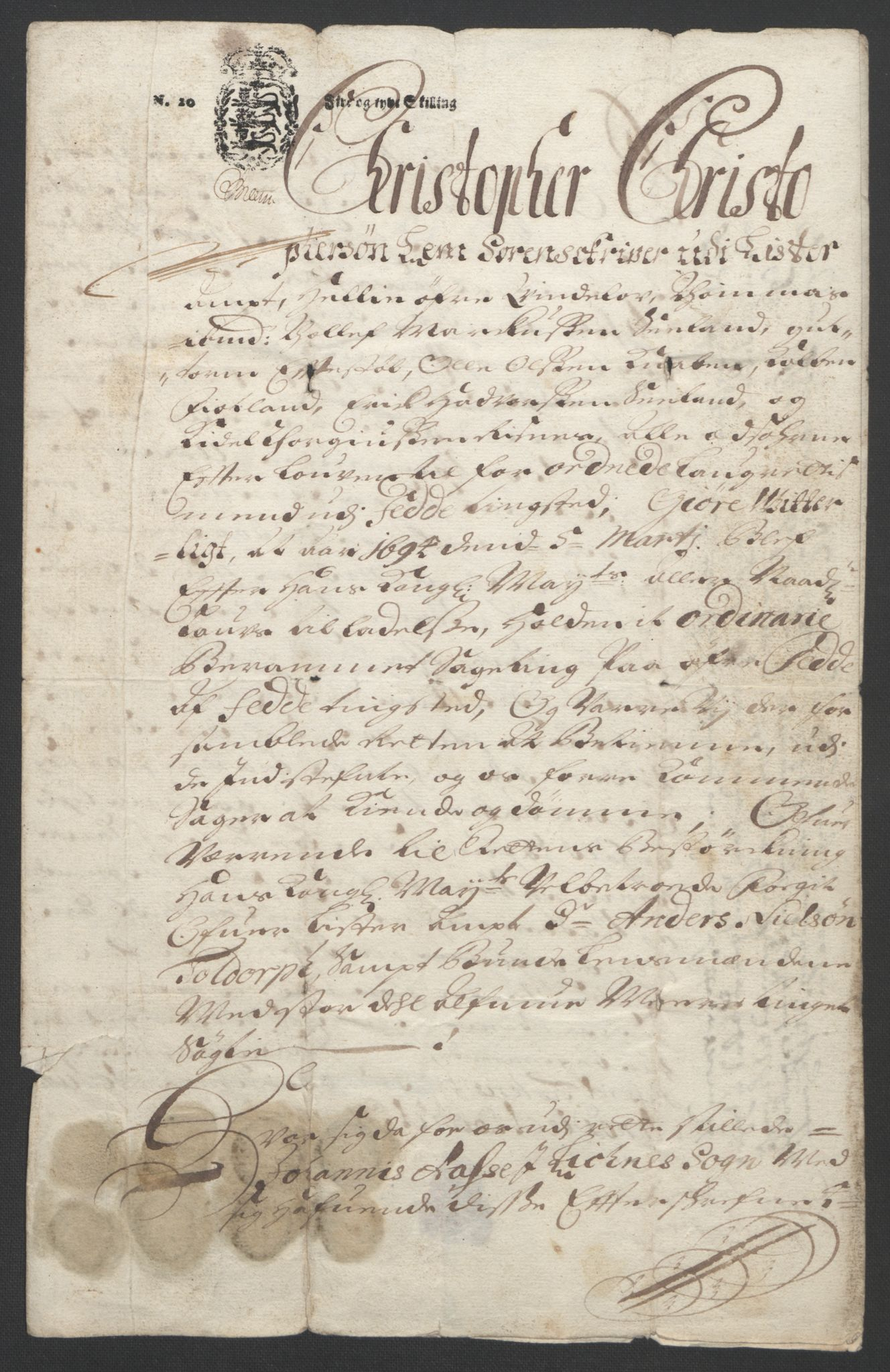 RA, Rentekammeret inntil 1814, Reviderte regnskaper, Fogderegnskap, R43/L2545: Fogderegnskap Lista og Mandal, 1694-1695, s. 298