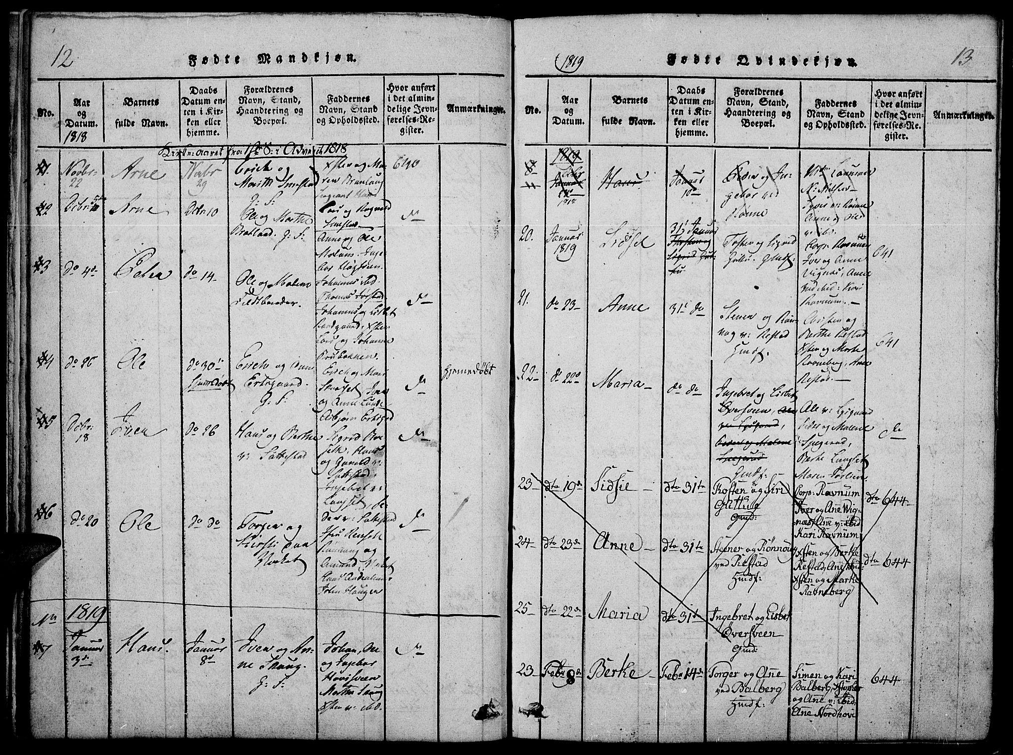 SAH, Fåberg prestekontor, Ministerialbok nr. 3, 1818-1833, s. 12-13