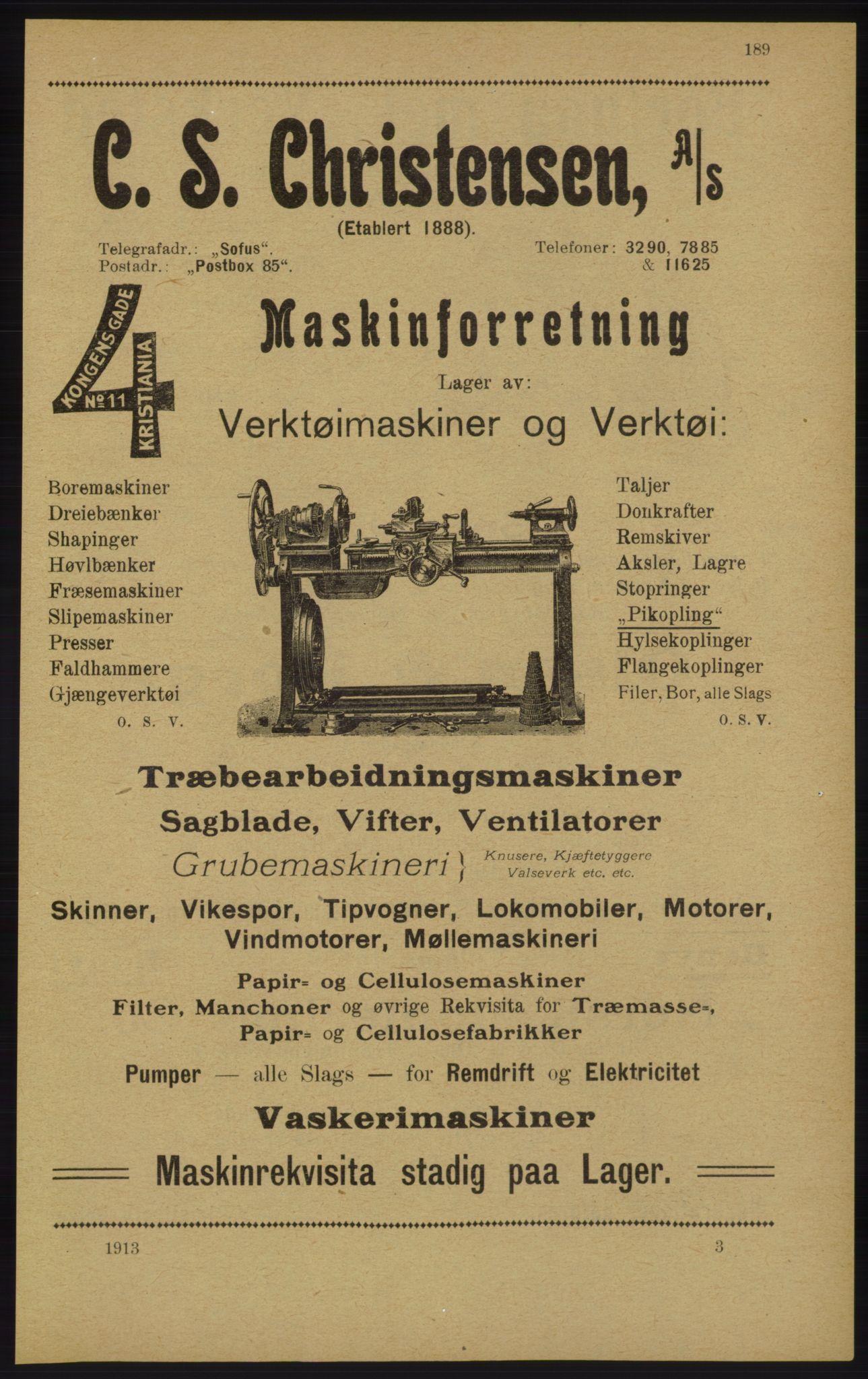 RA, Kristiania adressebok (publikasjon)*, 1913, s. 189