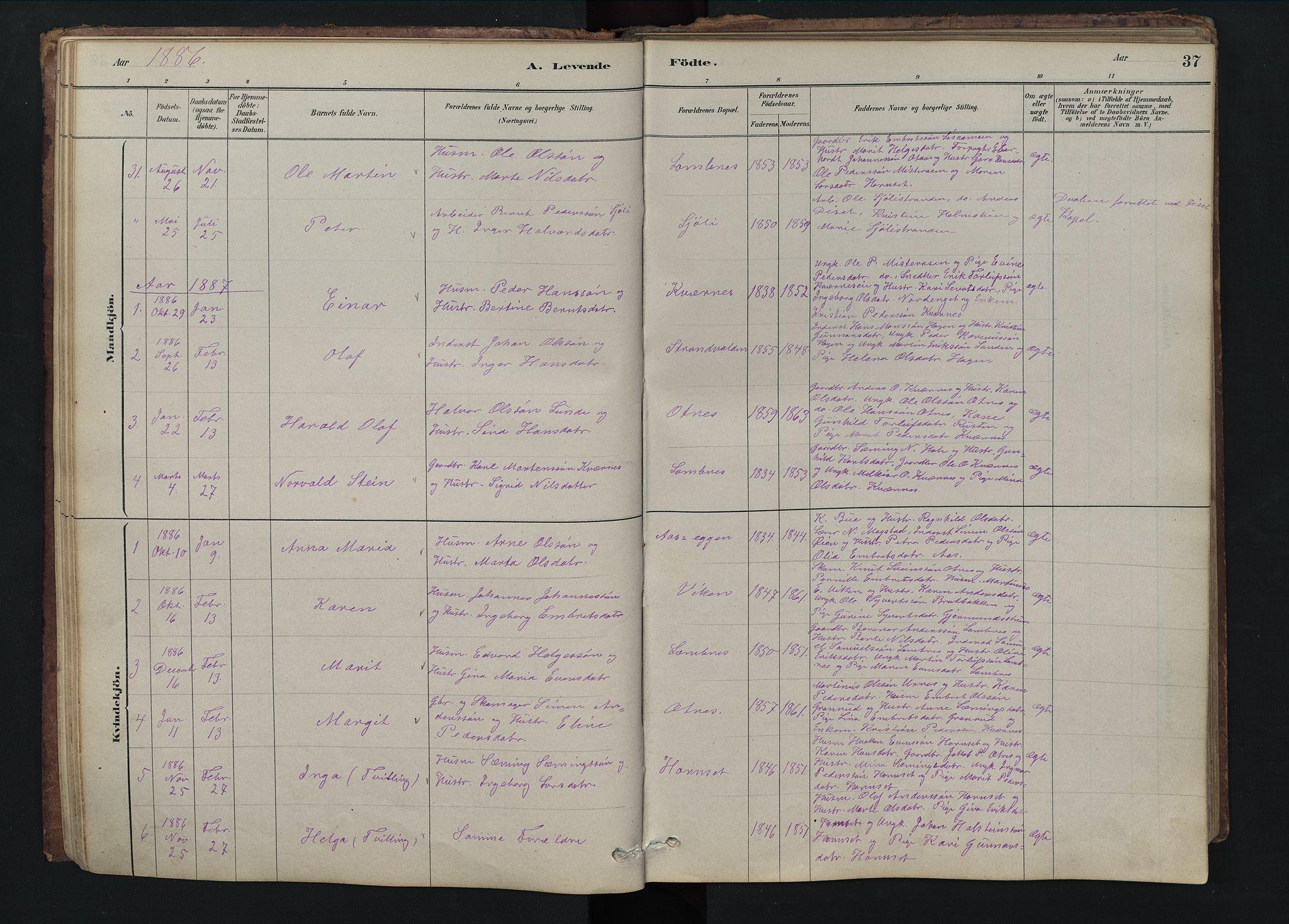 SAH, Rendalen prestekontor, H/Ha/Hab/L0009: Klokkerbok nr. 9, 1879-1902, s. 37