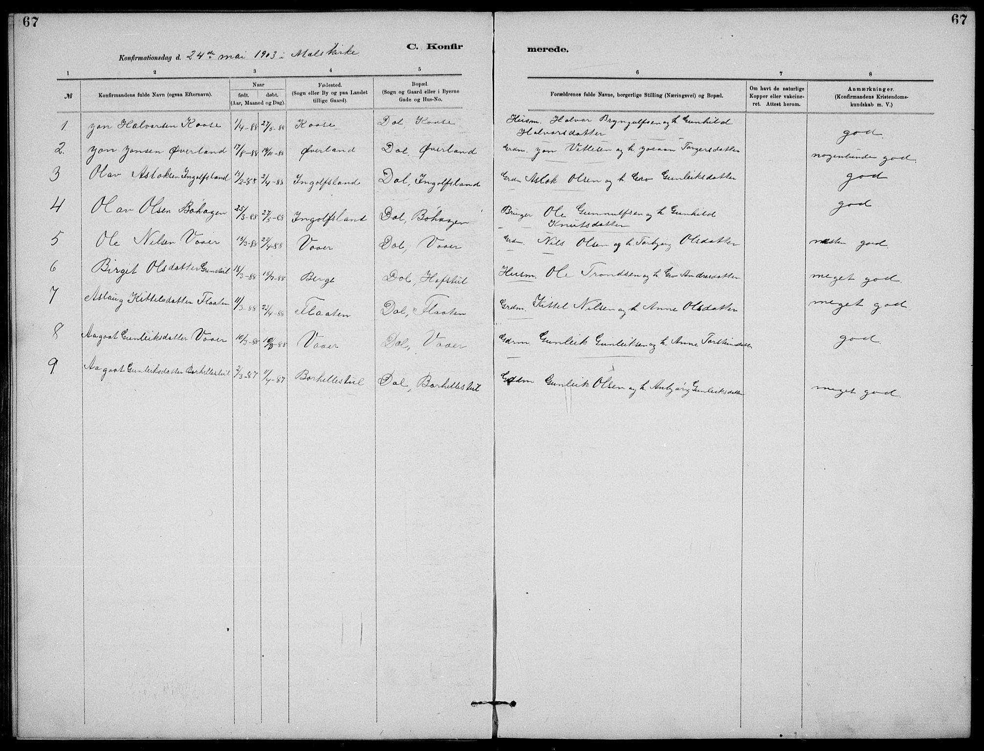 SAKO, Rjukan kirkebøker, G/Ga/L0001: Klokkerbok nr. 1, 1880-1914, s. 67