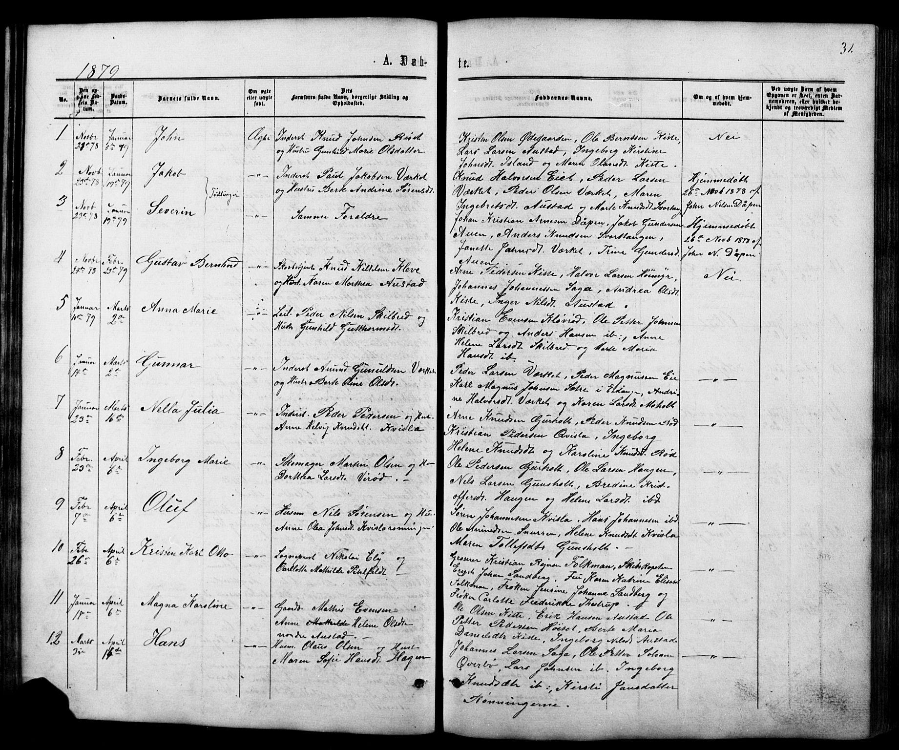 SAKO, Siljan kirkebøker, G/Ga/L0002: Klokkerbok nr. 2, 1864-1908, s. 31