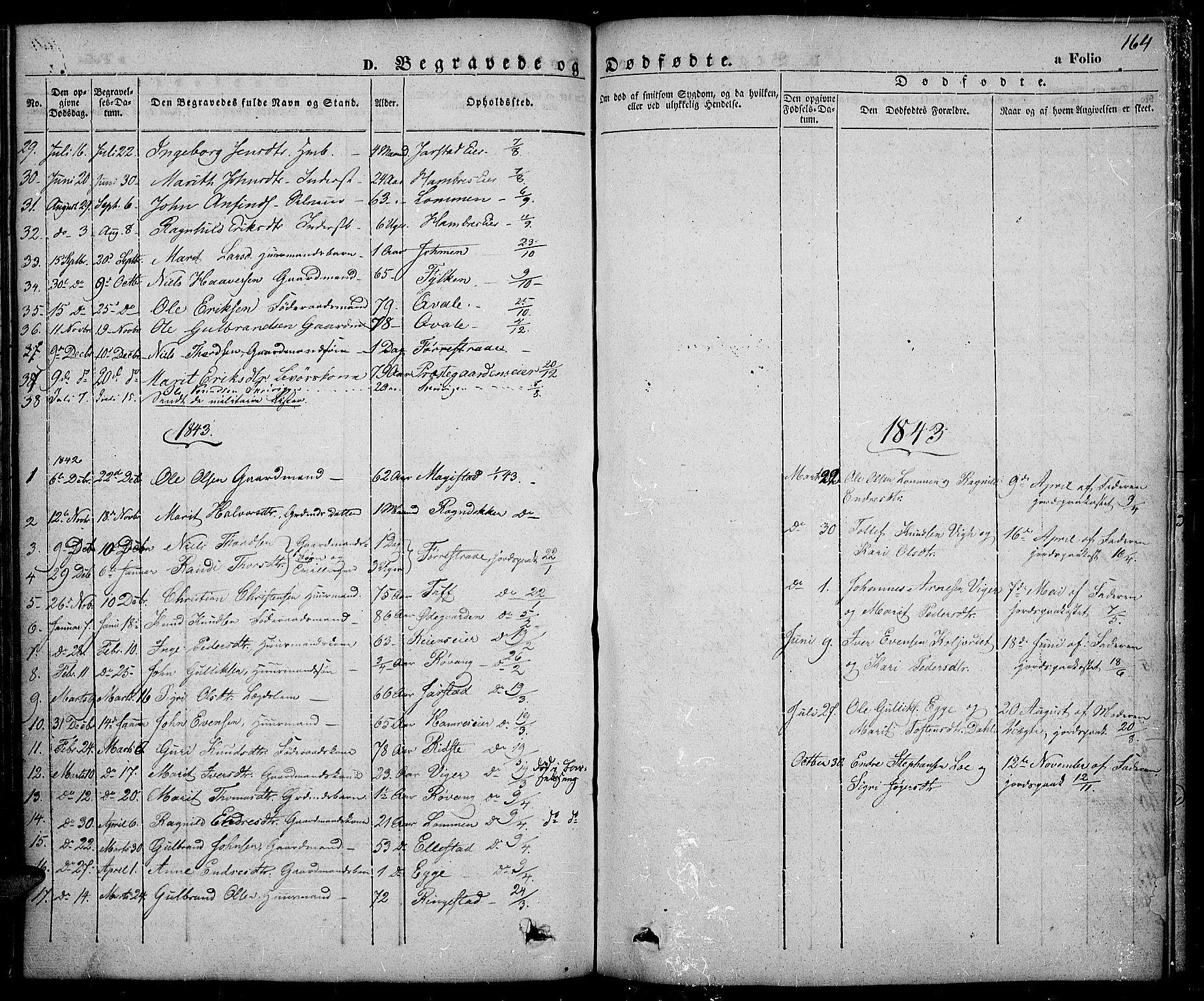 SAH, Slidre prestekontor, Ministerialbok nr. 3, 1831-1843, s. 164