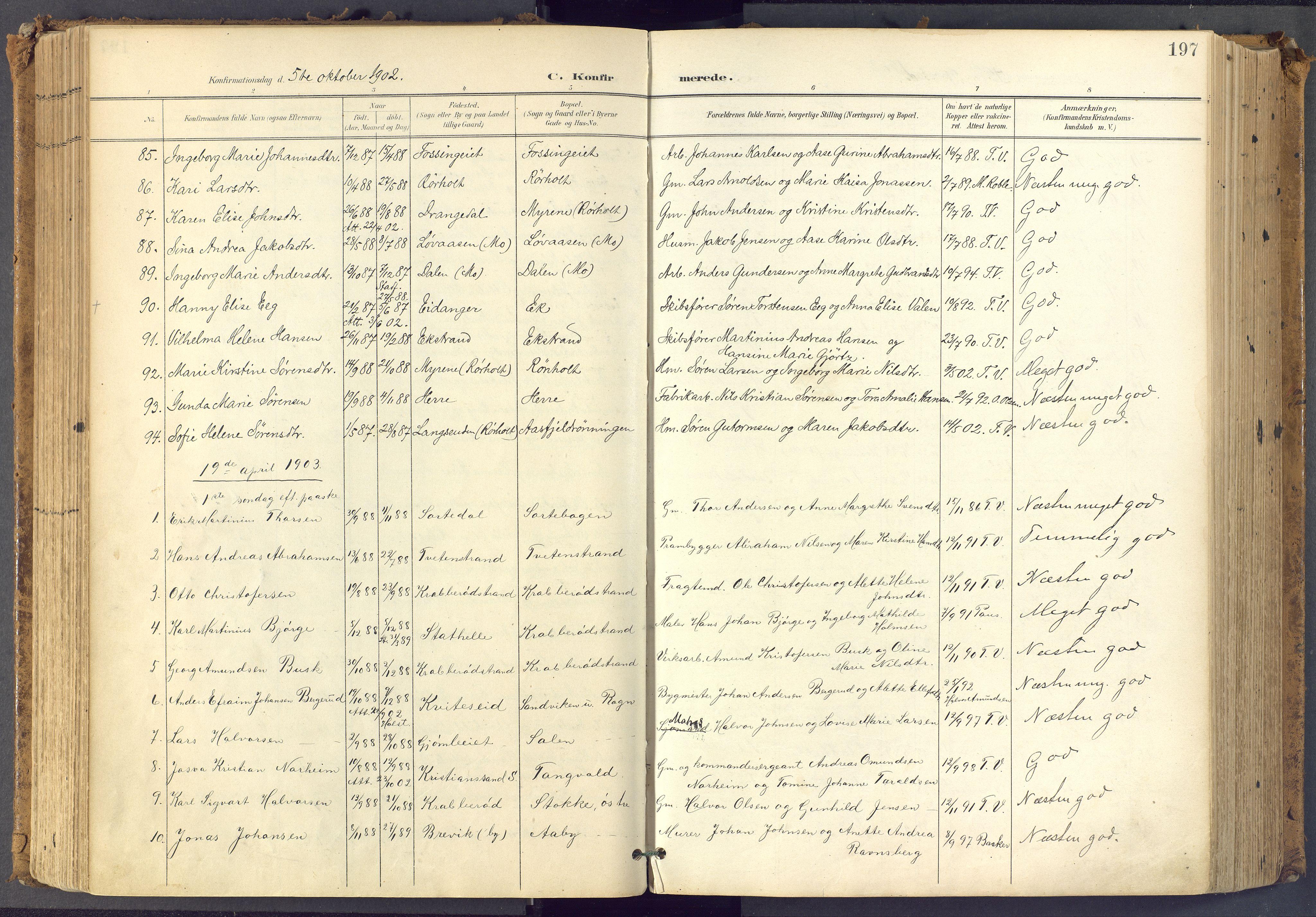 SAKO, Bamble kirkebøker, F/Fa/L0009: Ministerialbok nr. I 9, 1901-1917, s. 197