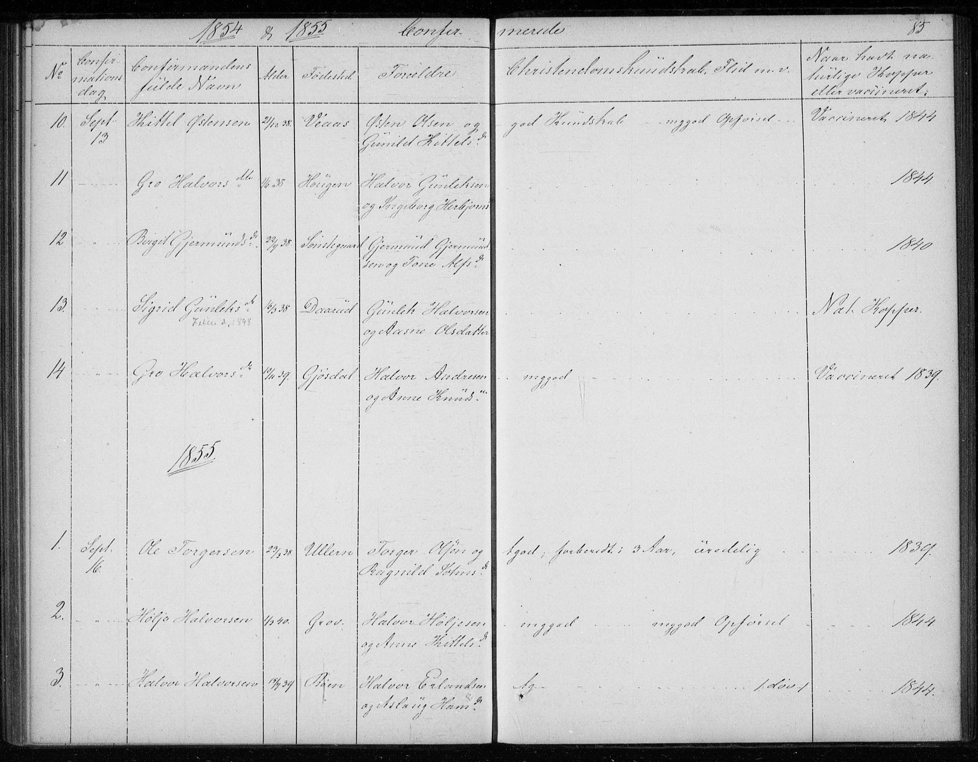 SAKO, Gransherad kirkebøker, F/Fb/L0003: Ministerialbok nr. II 3, 1844-1859, s. 85