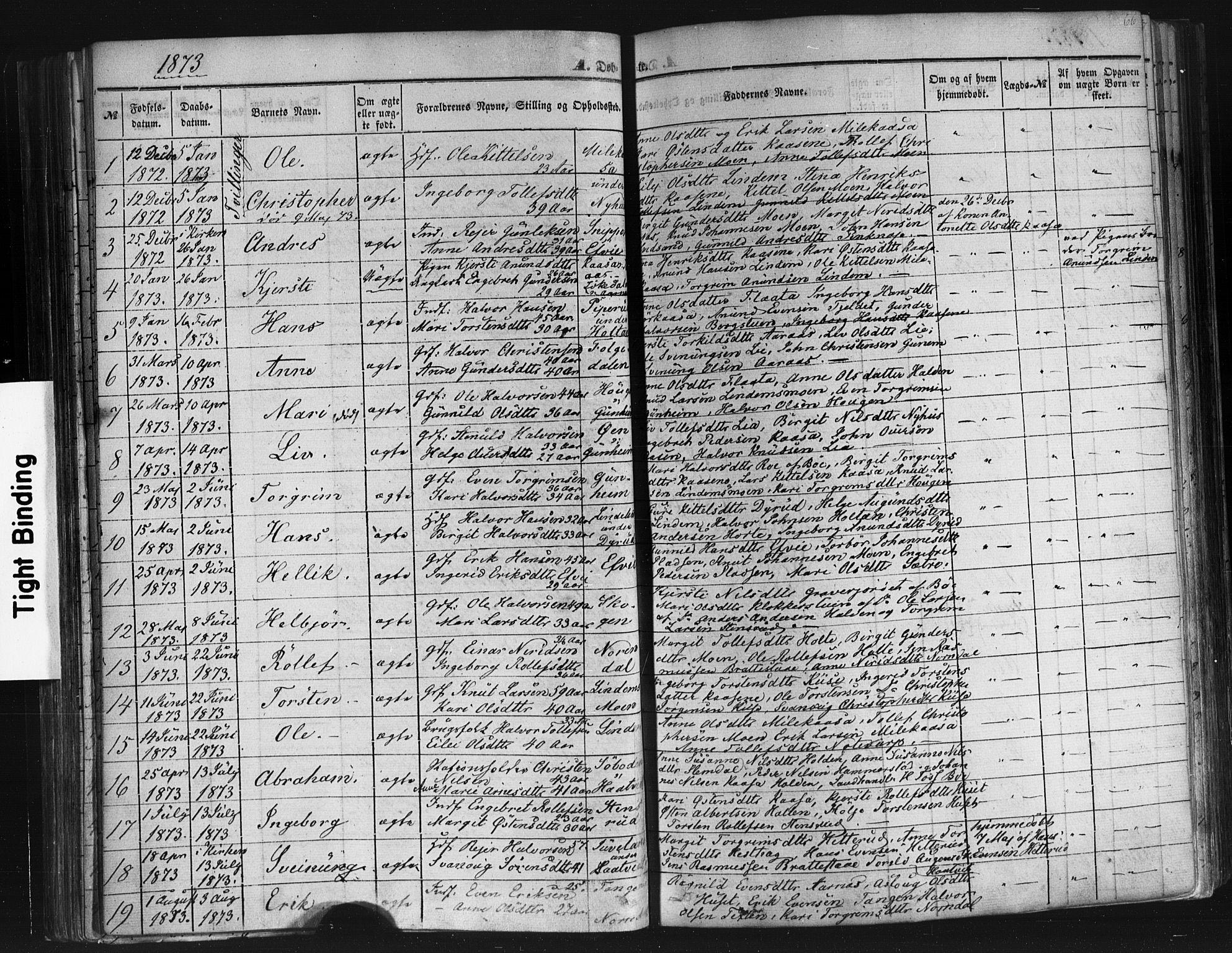 SAKO, Sauherad kirkebøker, F/Fb/L0001: Ministerialbok nr. II 1, 1851-1877, s. 66
