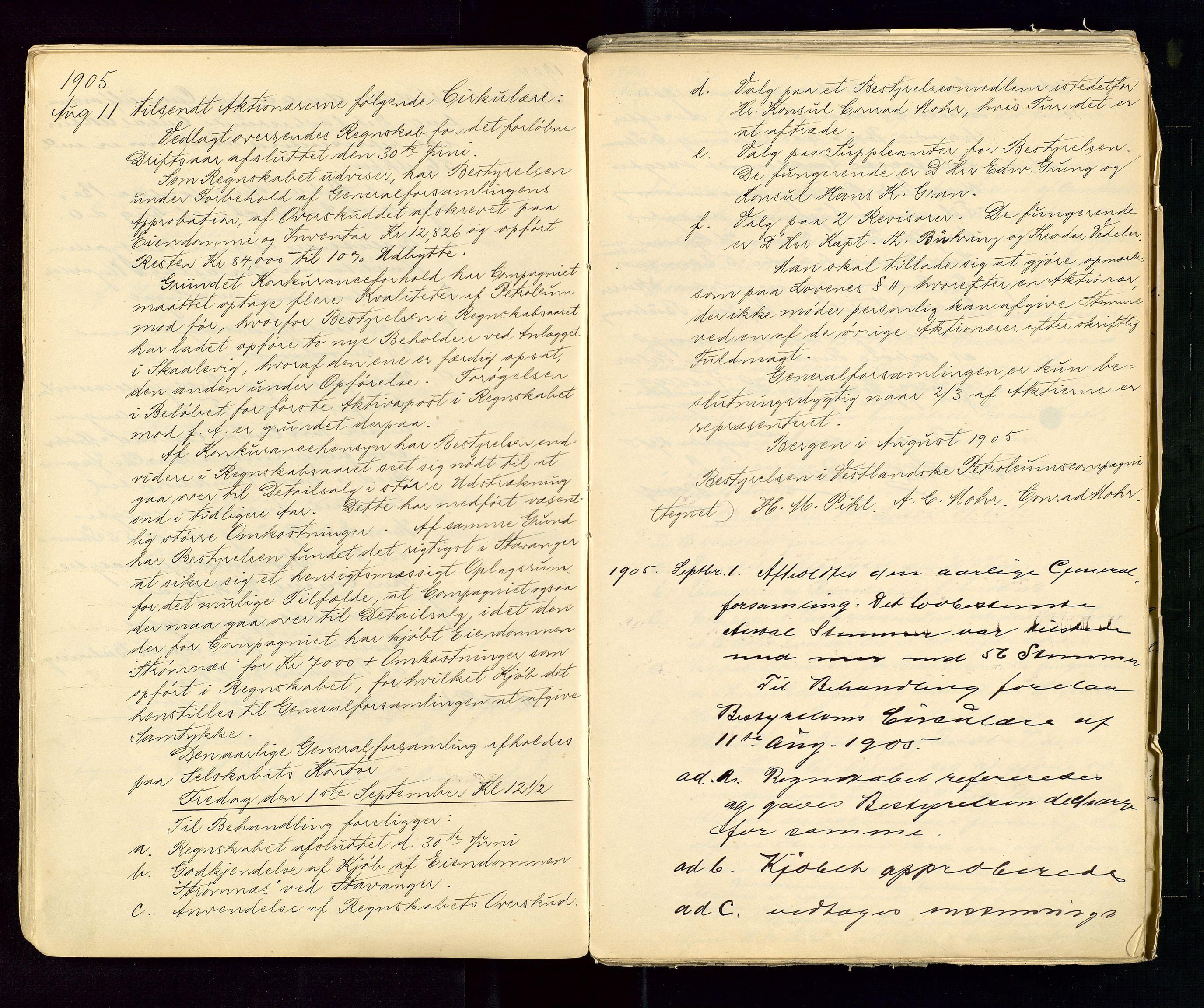 SAST, PA 1533 - A/S Vestlandske Petroleumscompani, A/Aa/L0001: Generalforsamlinger og styreprotokoller, 1890-1953, s. 30