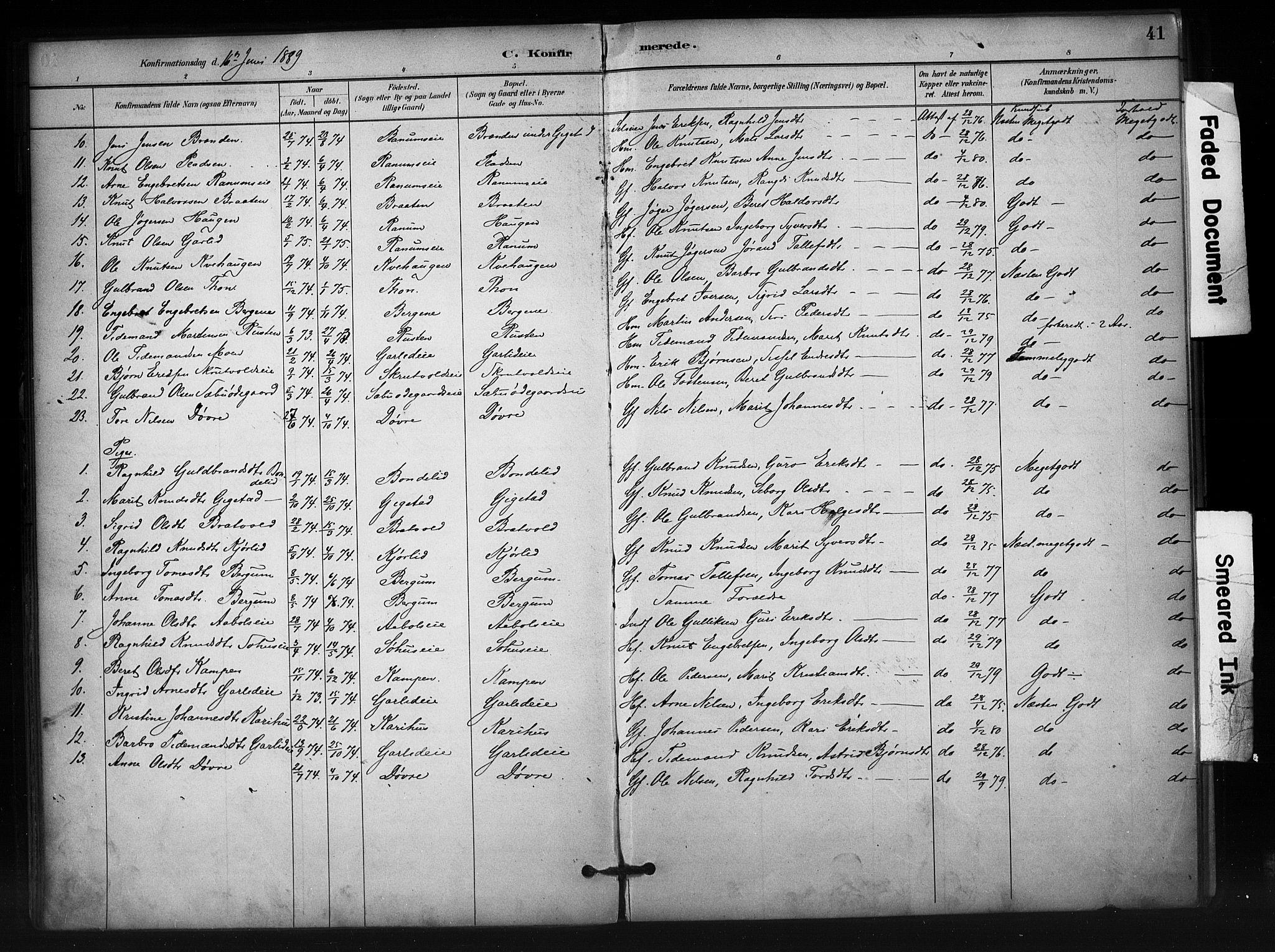 SAH, Nord-Aurdal prestekontor, Ministerialbok nr. 12, 1883-1895, s. 41
