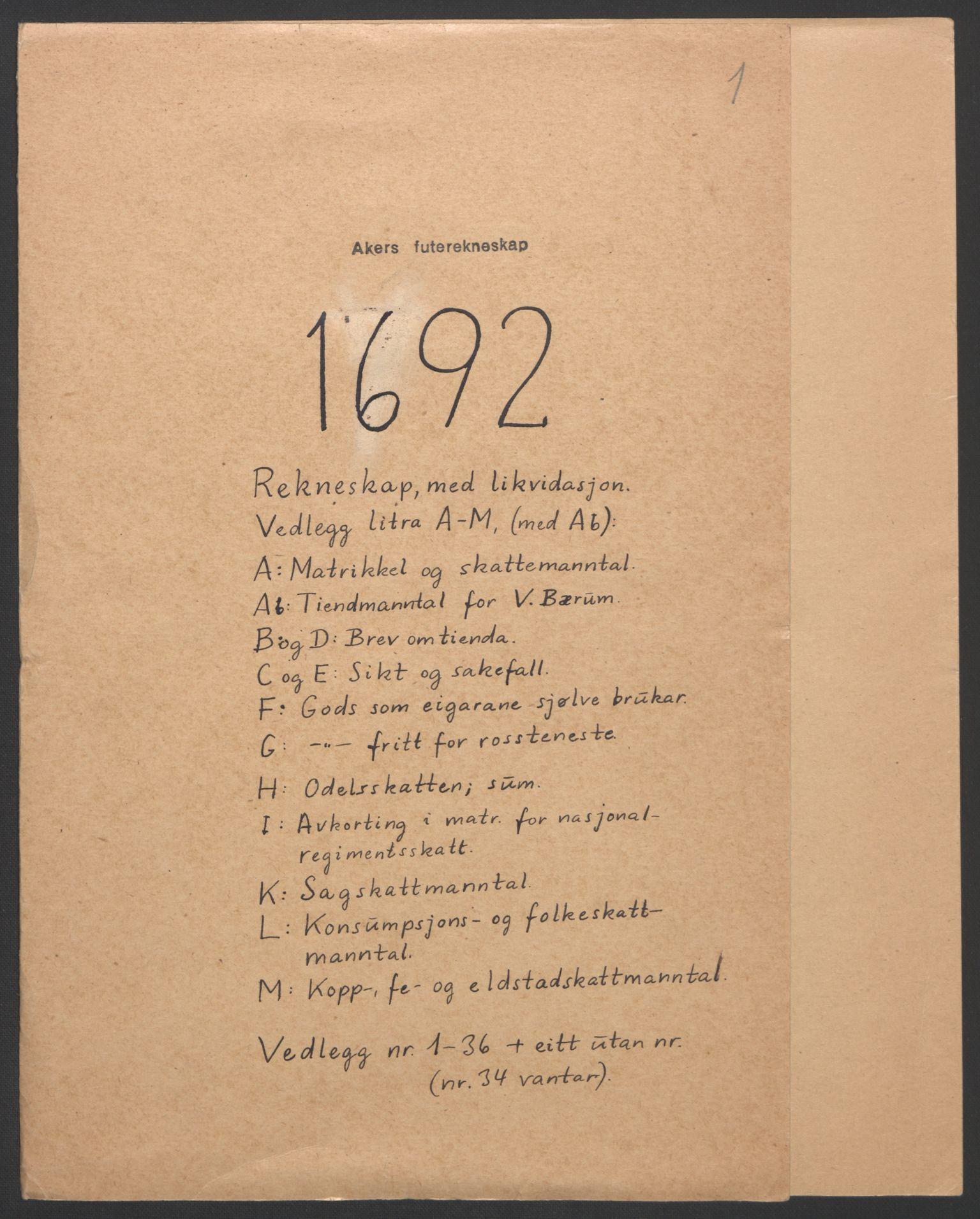 RA, Rentekammeret inntil 1814, Reviderte regnskaper, Fogderegnskap, R08/L0426: Fogderegnskap Aker, 1692-1693, s. 2