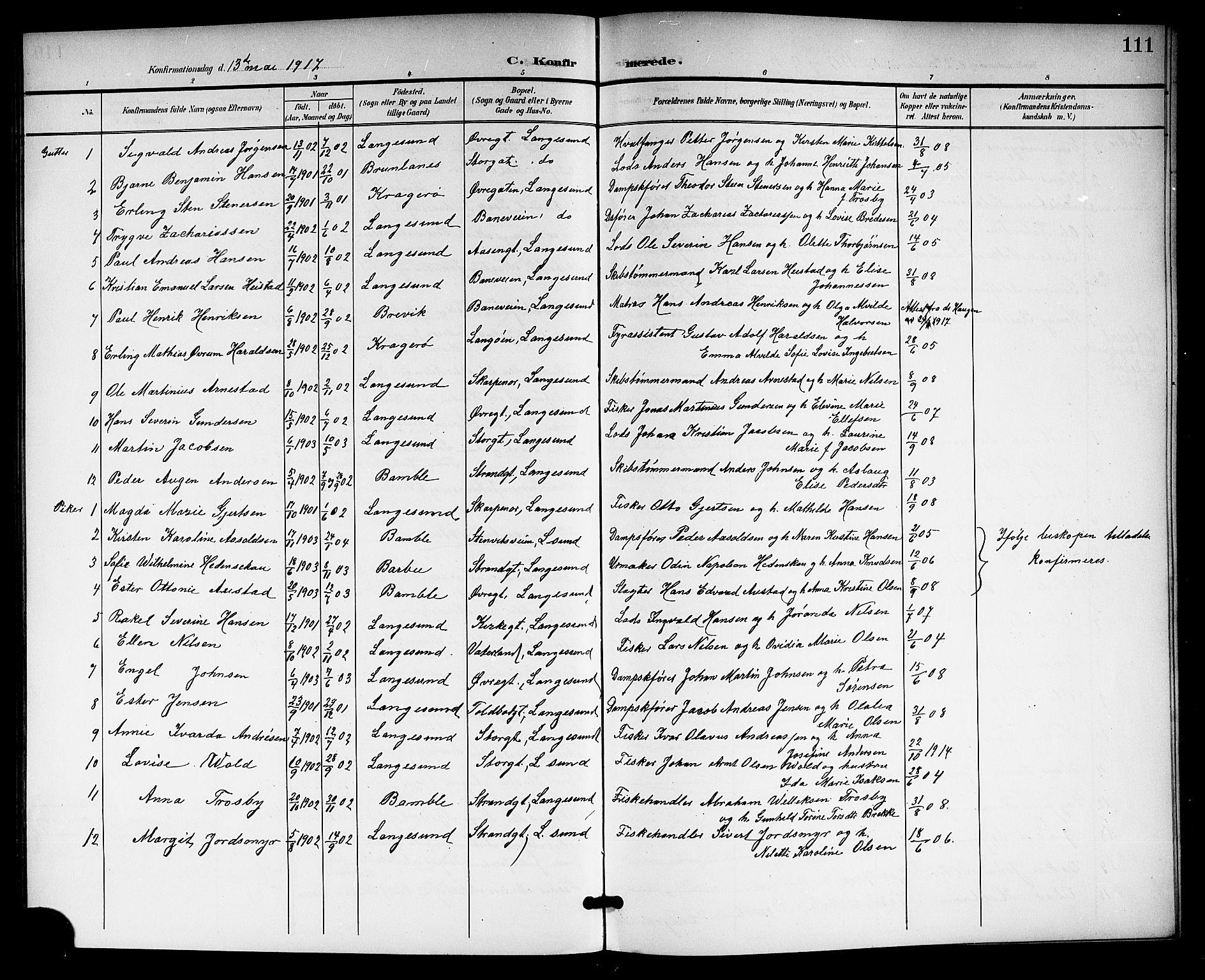 SAKO, Langesund kirkebøker, G/Ga/L0006: Klokkerbok nr. 6, 1899-1918, s. 111
